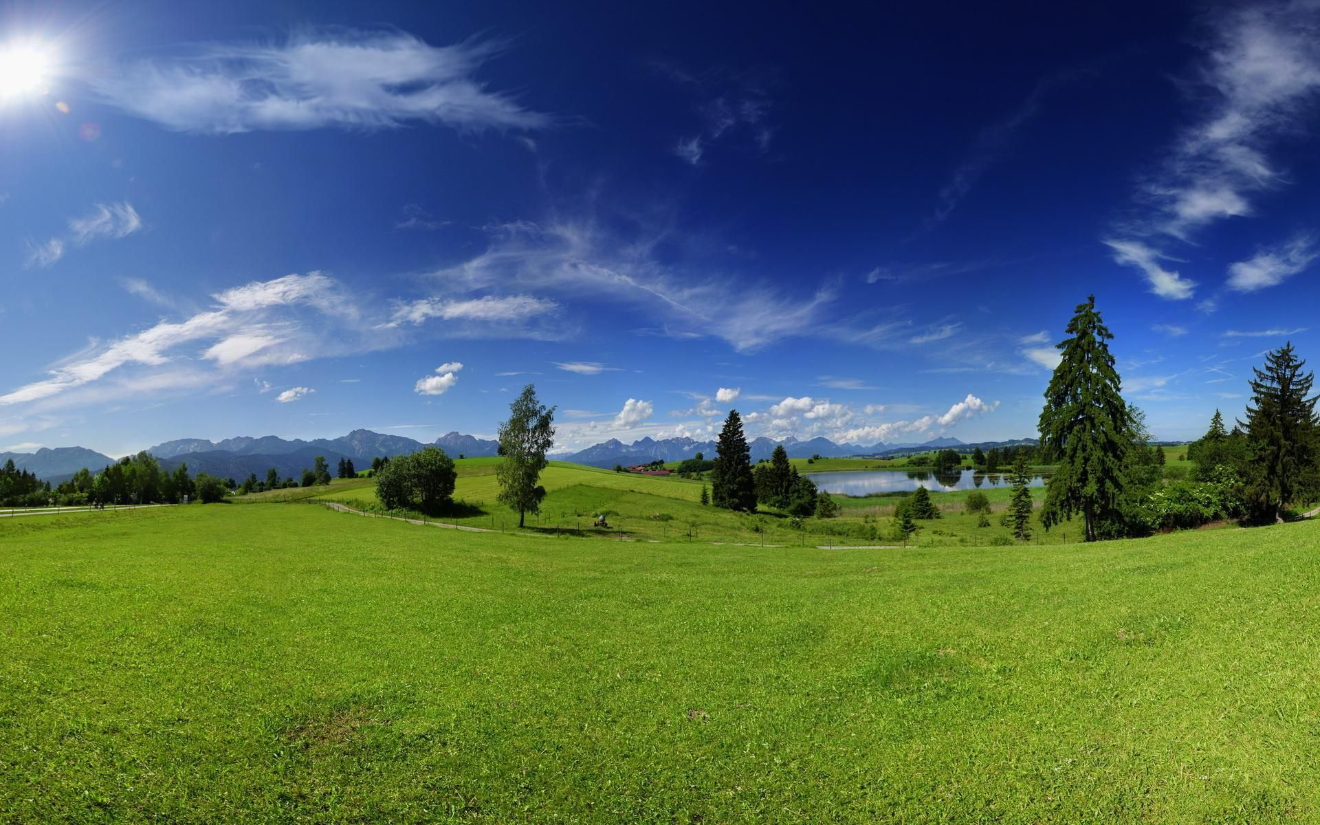 beautiful landscape wallpaper with green hill