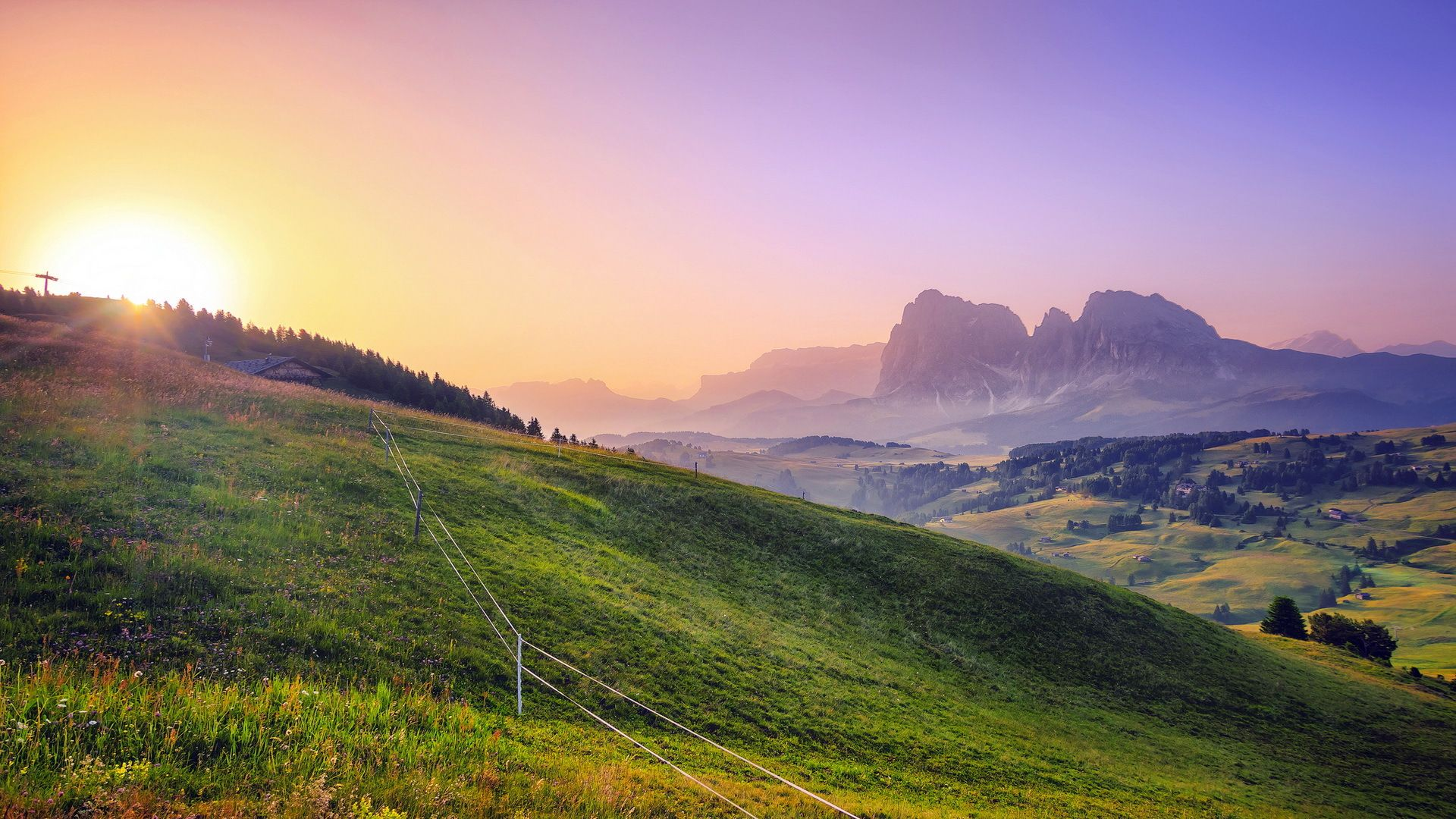 sun and green hills wallpapers