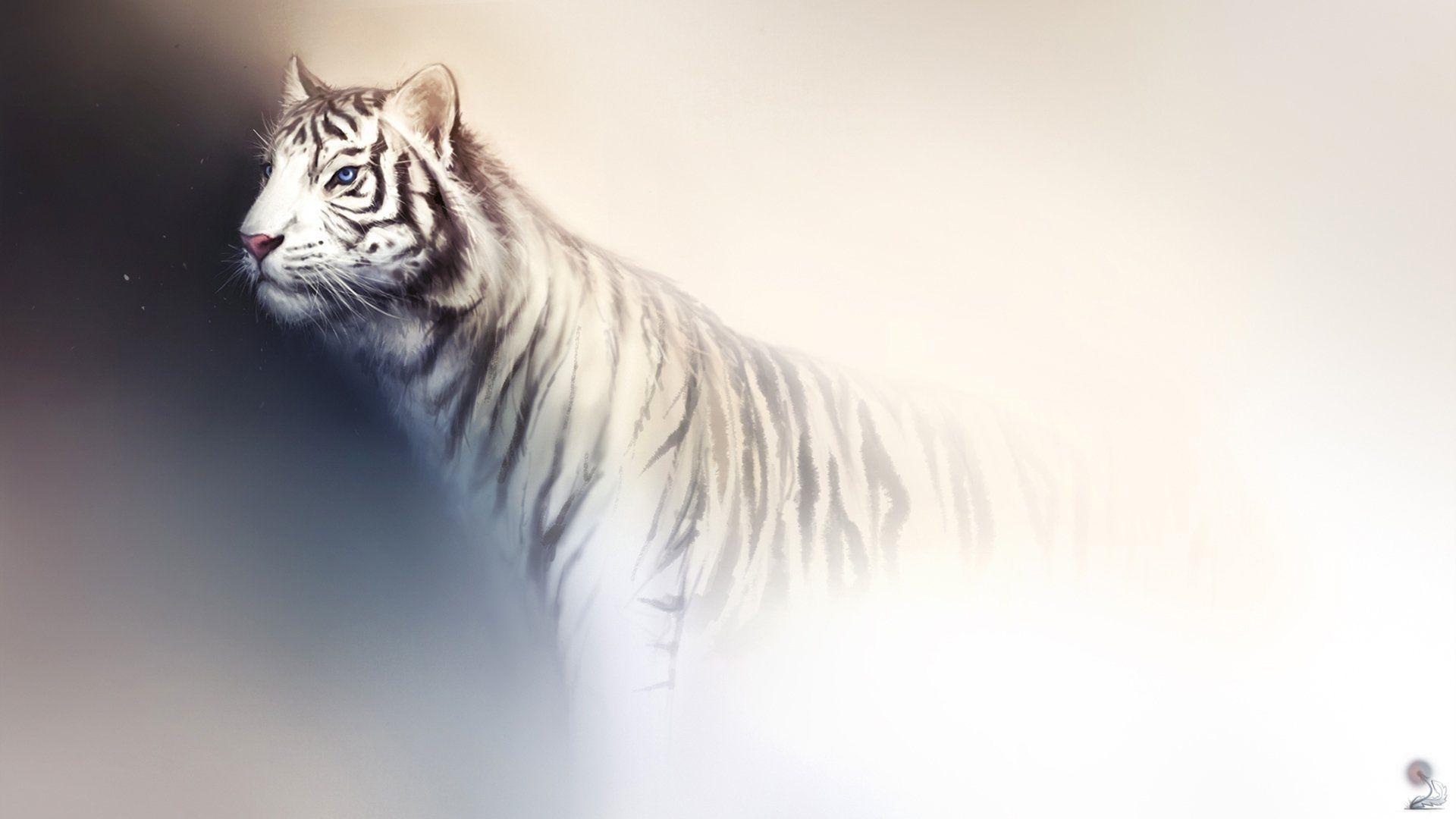 White Tiger Art, Background Wallpaper