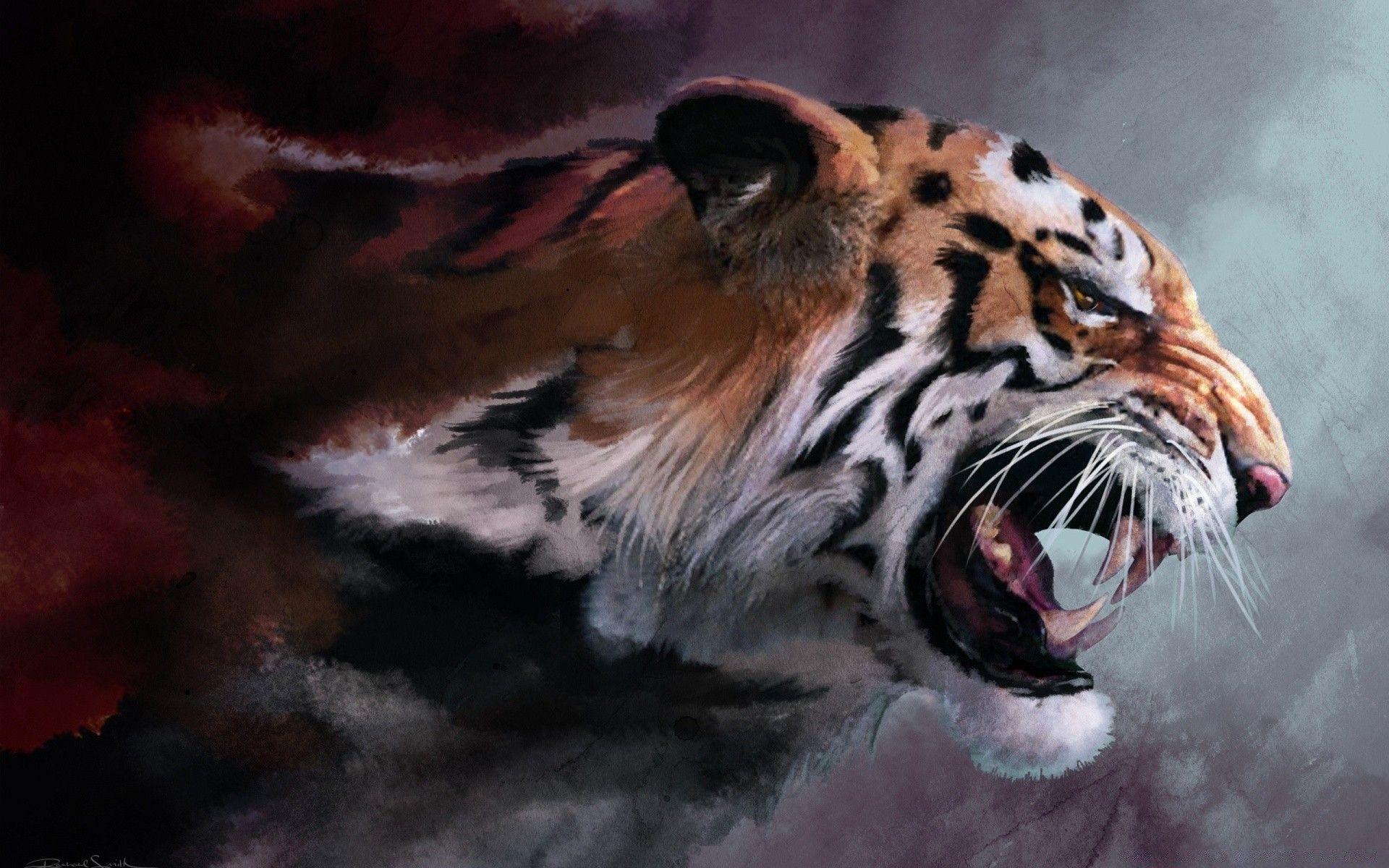 Tiger Roars Art, Cool Wallpaper