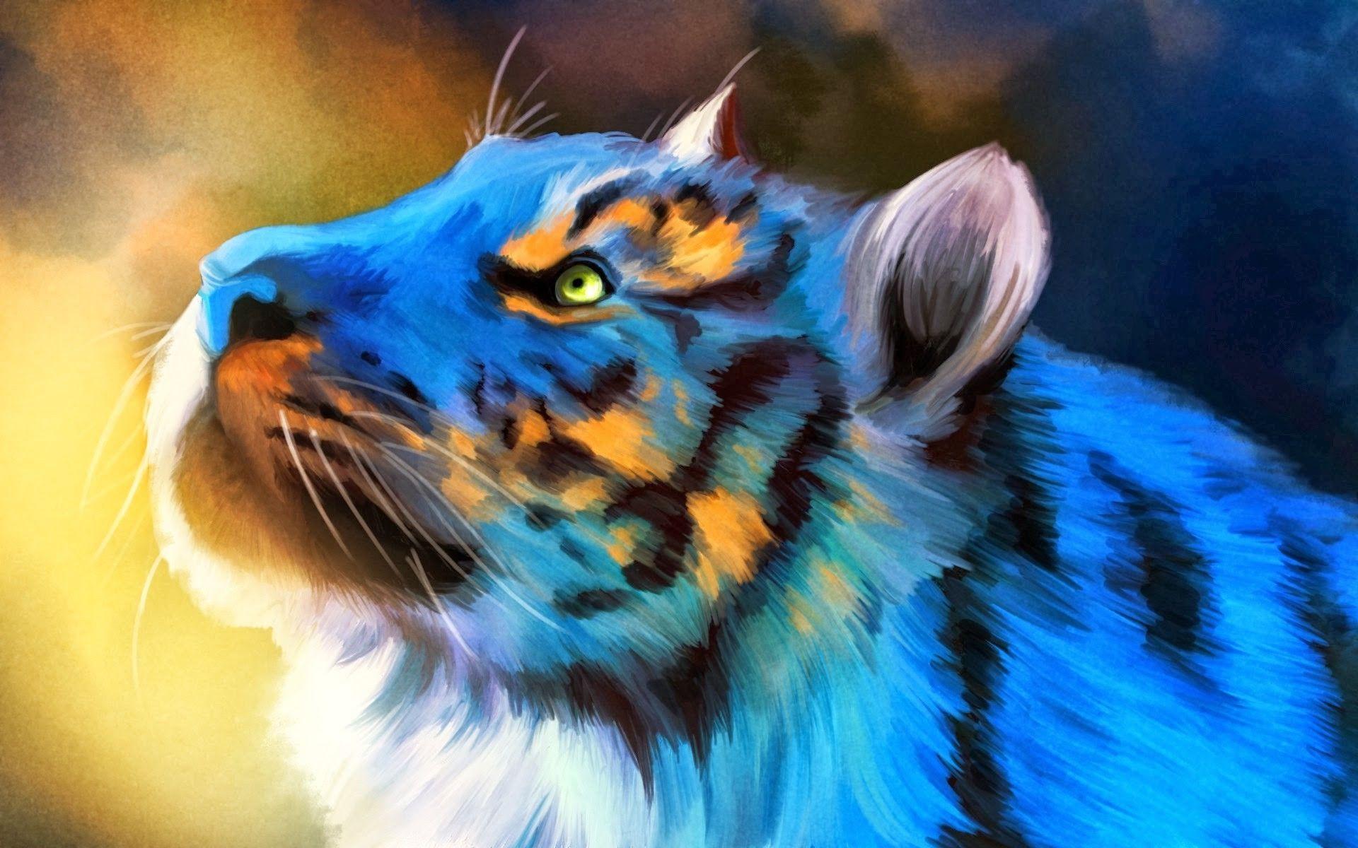 Tiger Art Blue, Computer Wallpaper
