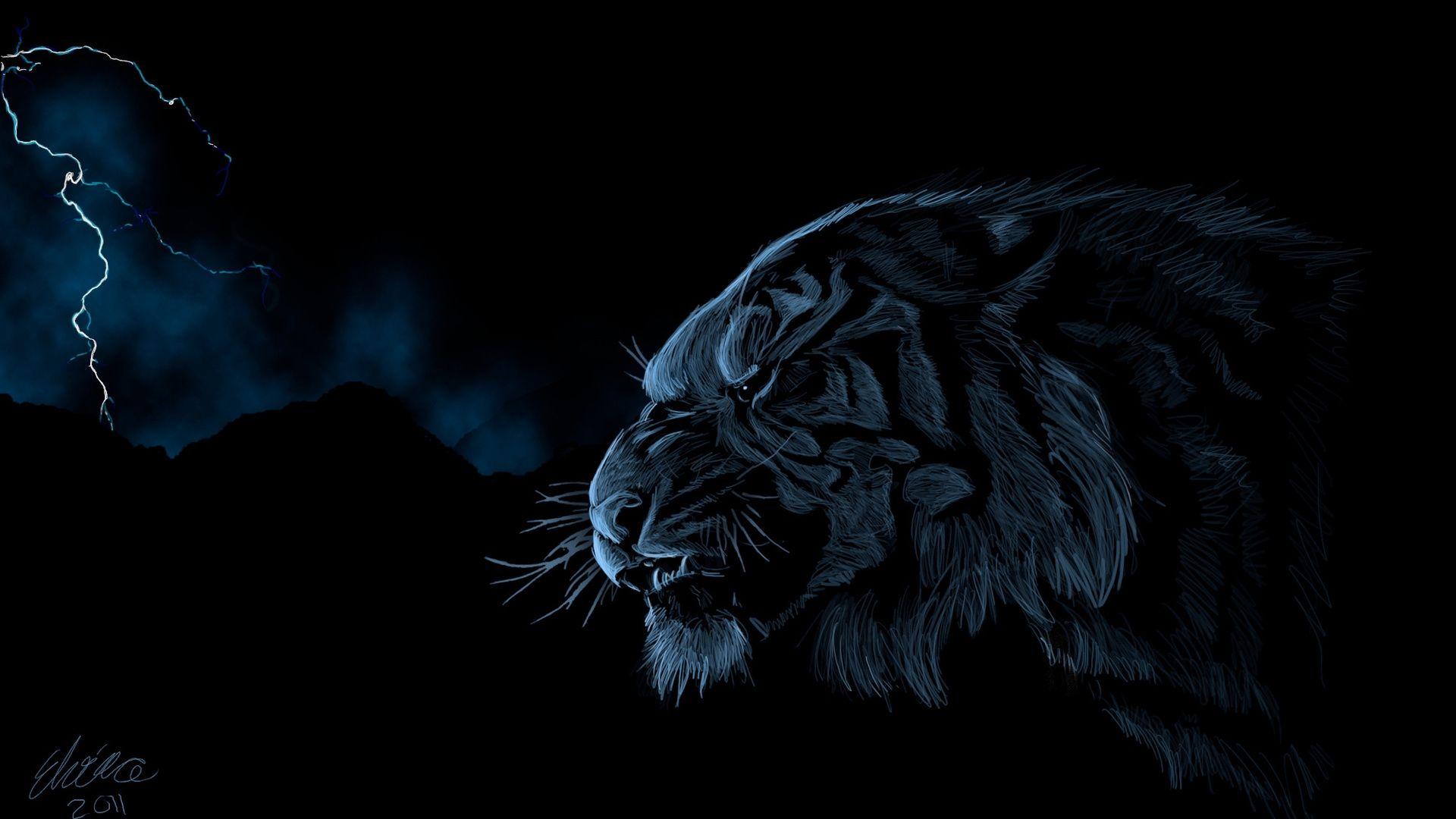 Tiger Art profile, PC Wallpaper
