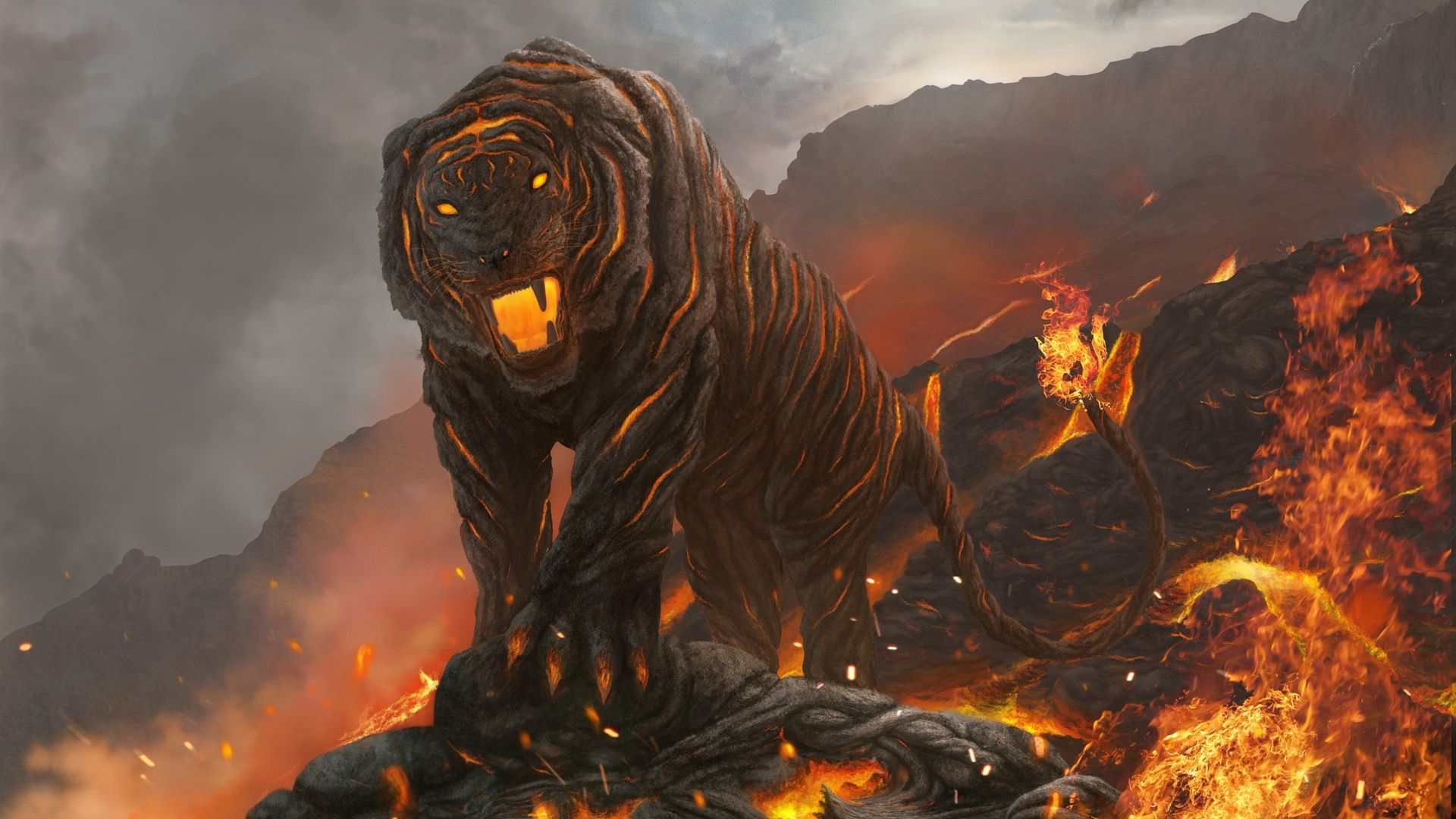 Tiger Magma Fire Art, Wallpaper