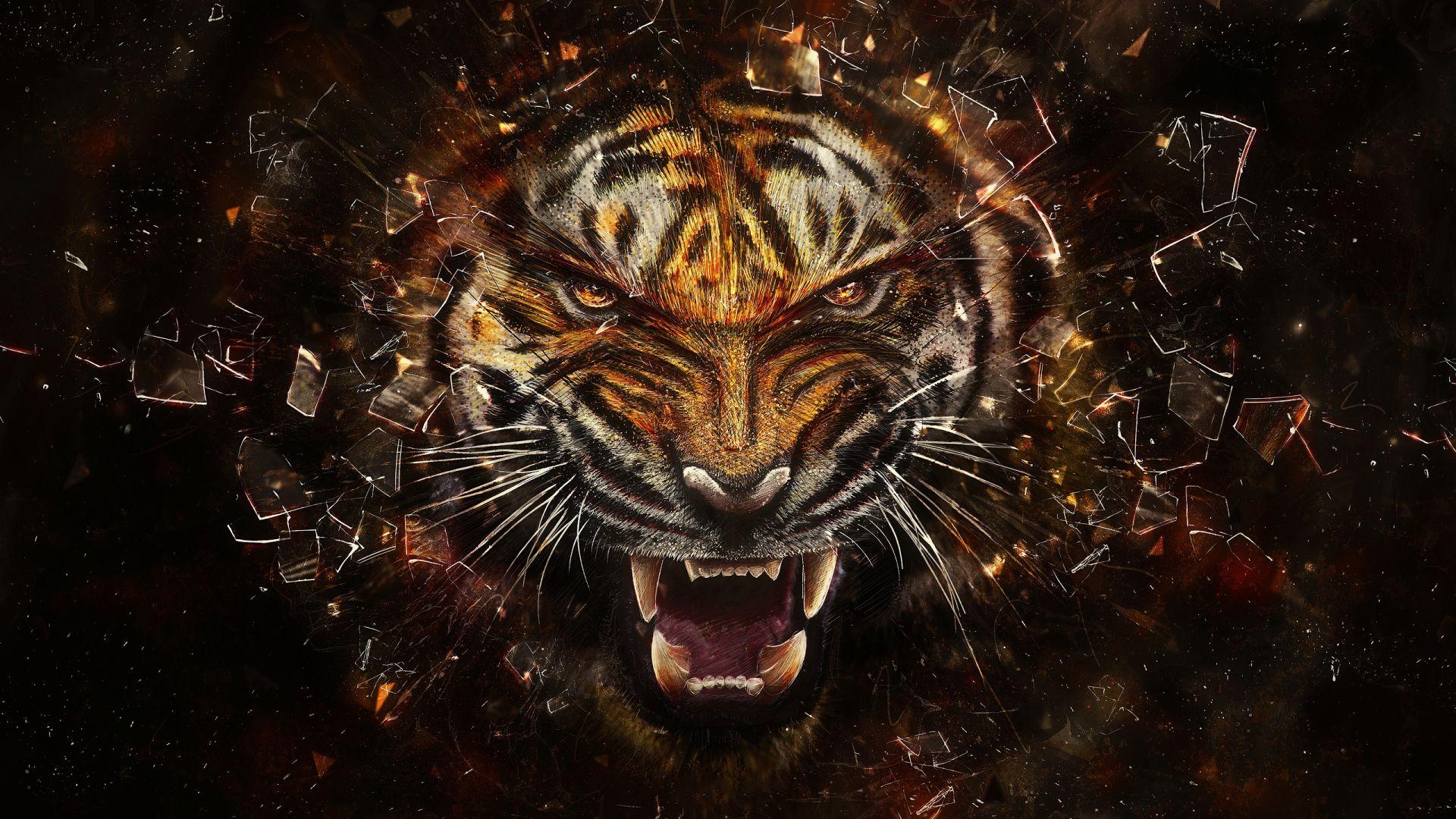 Tiger Art Angry, HD Wallpaper 1080