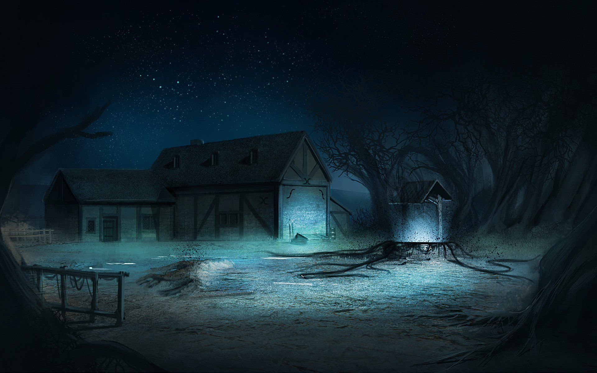 Art Night Village, Forest House At Night, Gloomy wallpaper