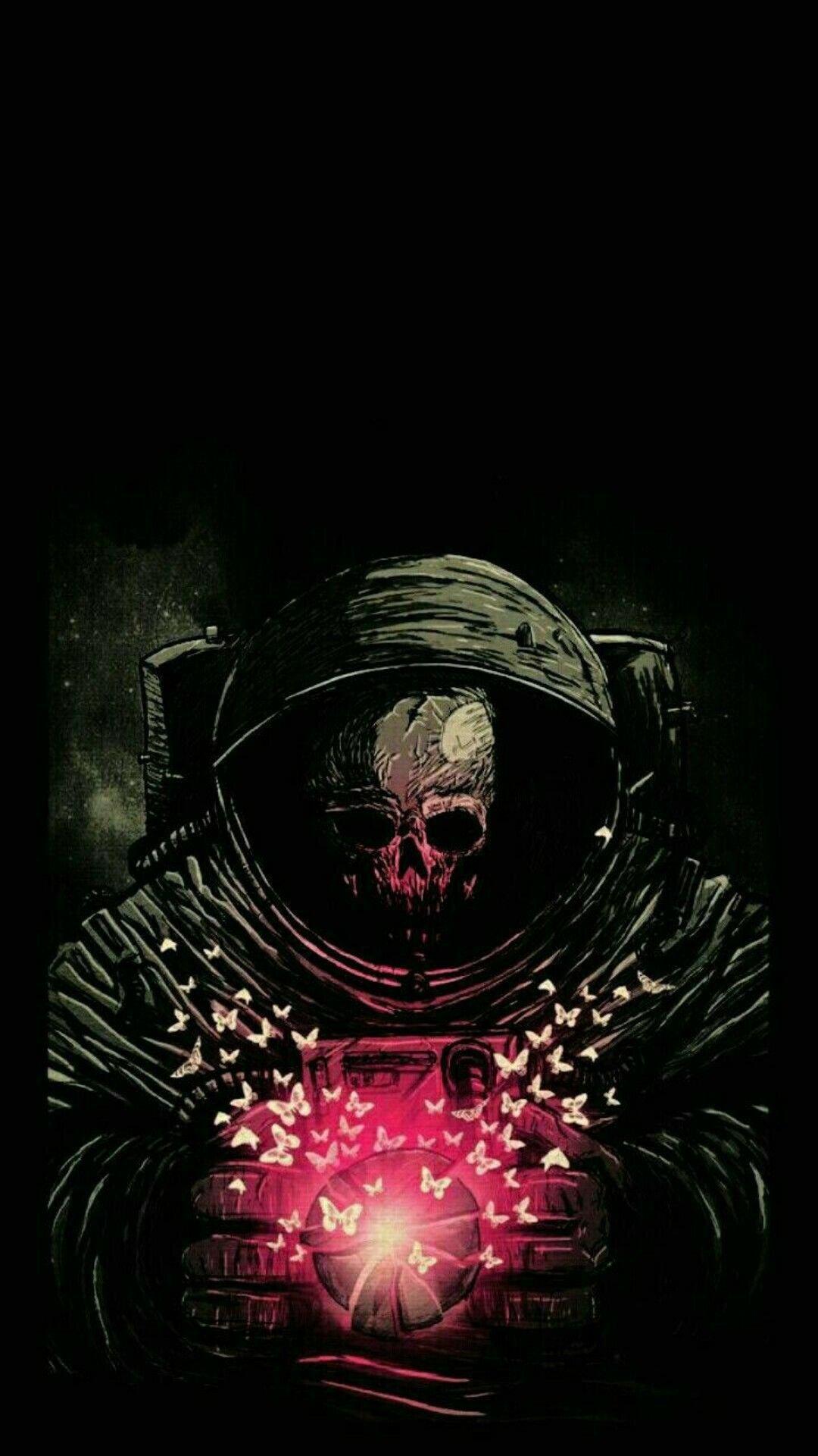 Astronaut Skeleton Art, Skull In Space