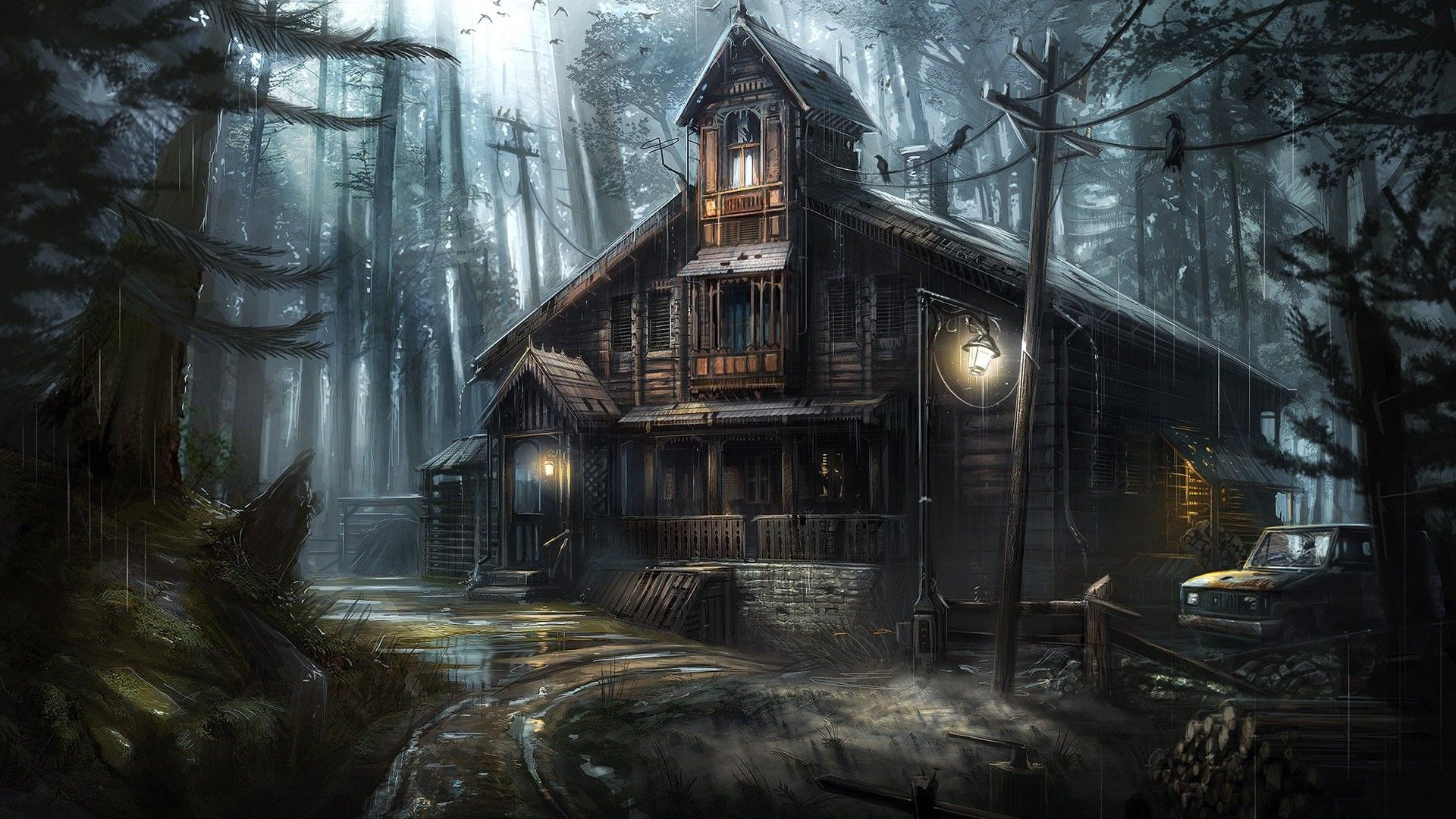 Building In The Forest Art Fantasy, Old House, Gloomy Mansion background wallpaper