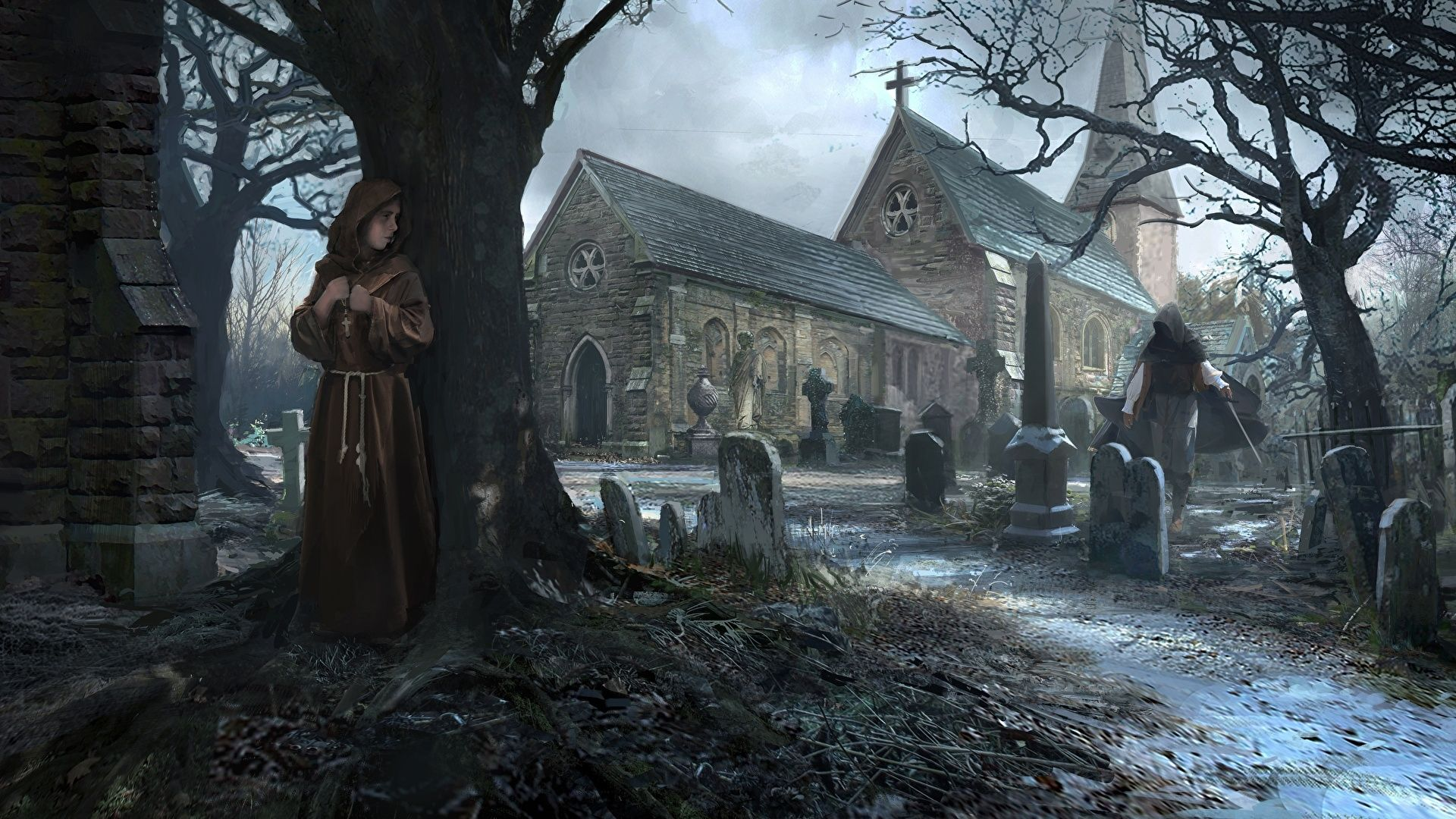 Cemetery Gothic Art, Wallpaper Dark Middle Ages, Gloomy Church, Old Cemetery