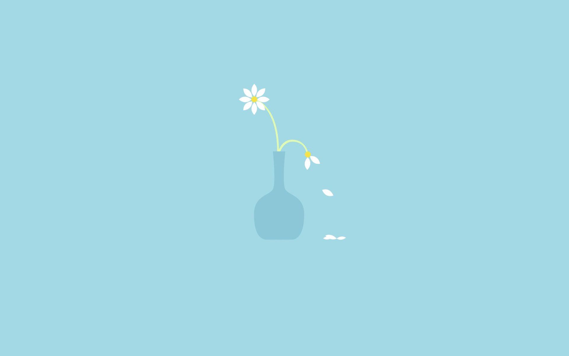 Cute Blue Flowers Minimalist PC Wallpaper HD
