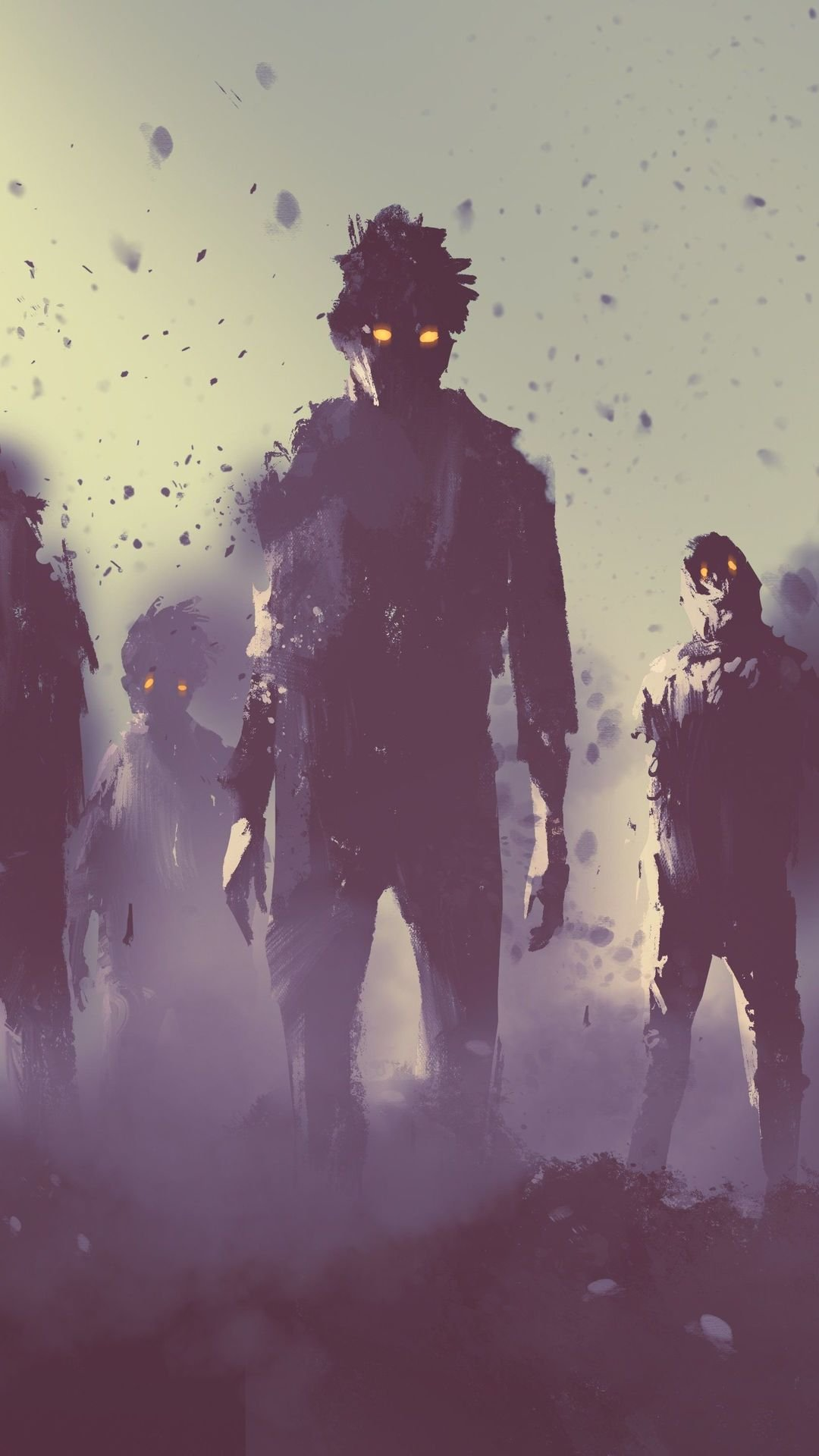 Dark Silhouettes Of Zombies wallpaper