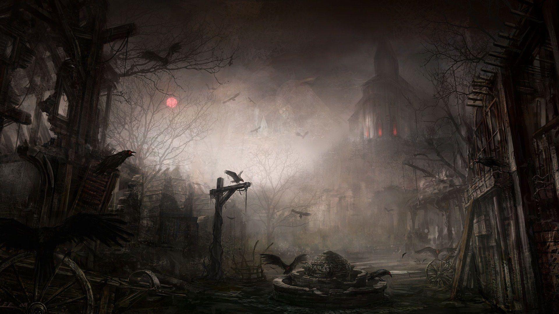 Gloomy Fantasy, Background Gloomy Gothic, Raven Fantasy Horror Pic