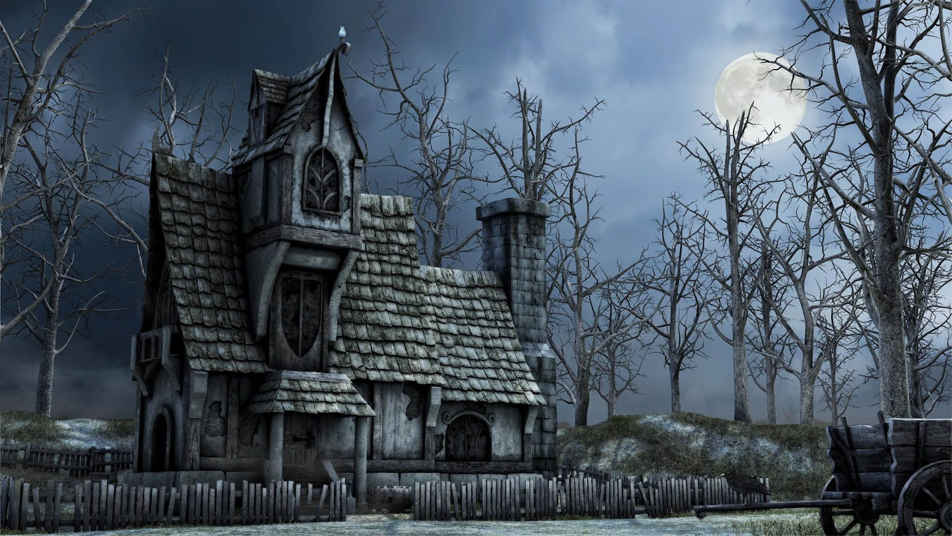Gloomy House, Scary House, Scary Castle hd wallpaper download