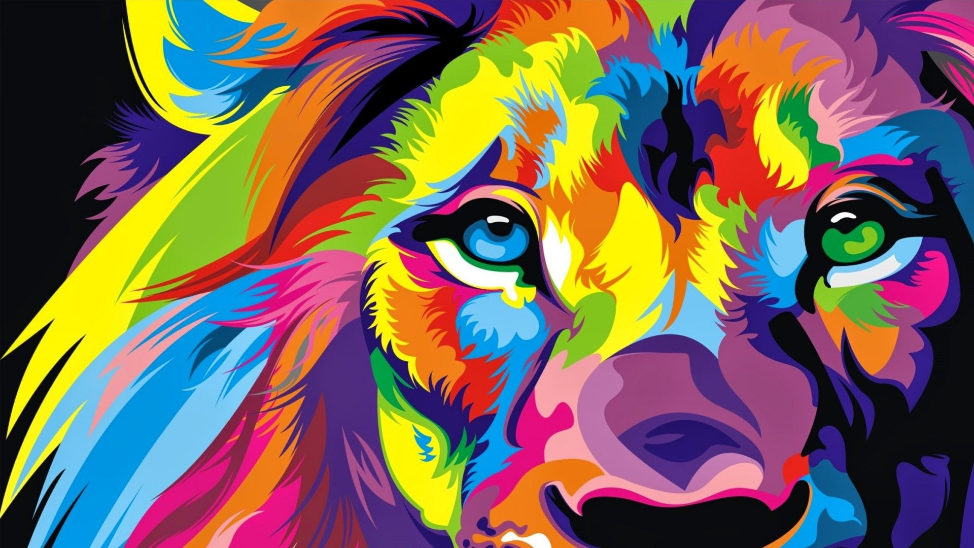 Lion Art full screen hd wallpaper