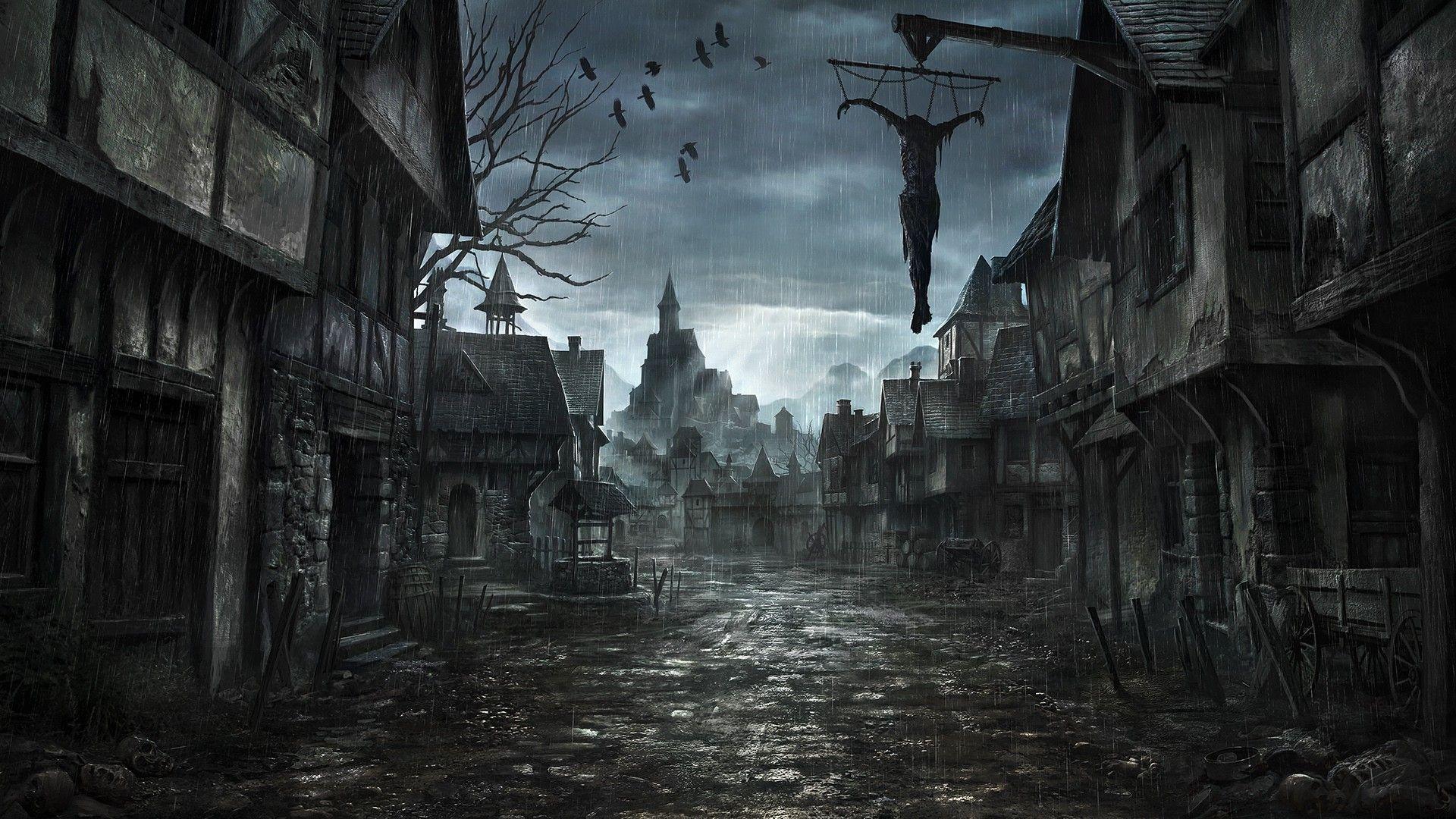 Medieval City Art, Dark Fantasy, Abandoned Horror City Desktop Wallpaper