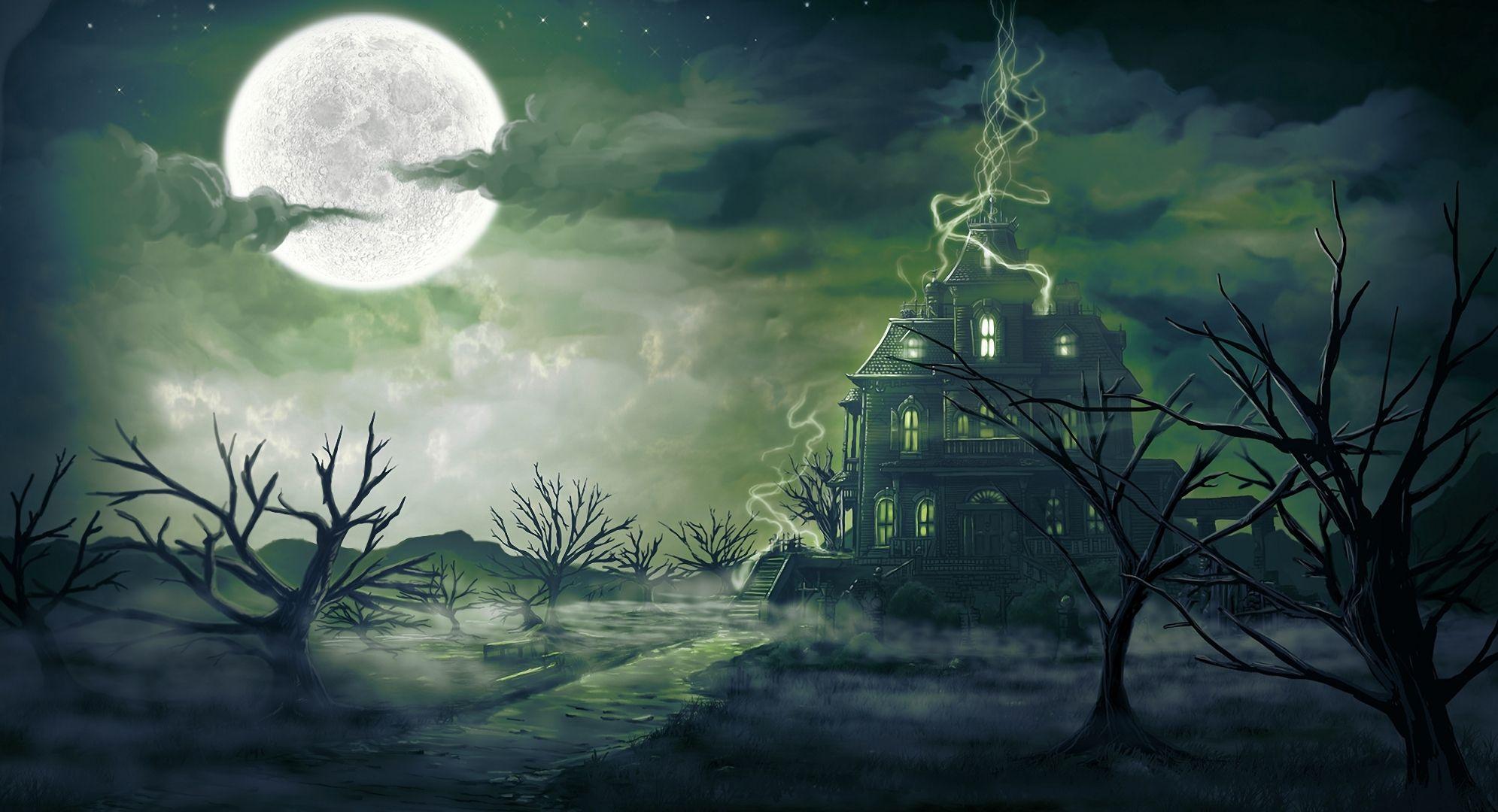 Mystic Night Pictures, Full Moon Mysticism, Night Moon, Night Drawing, Fog Night Moon ArtPicture