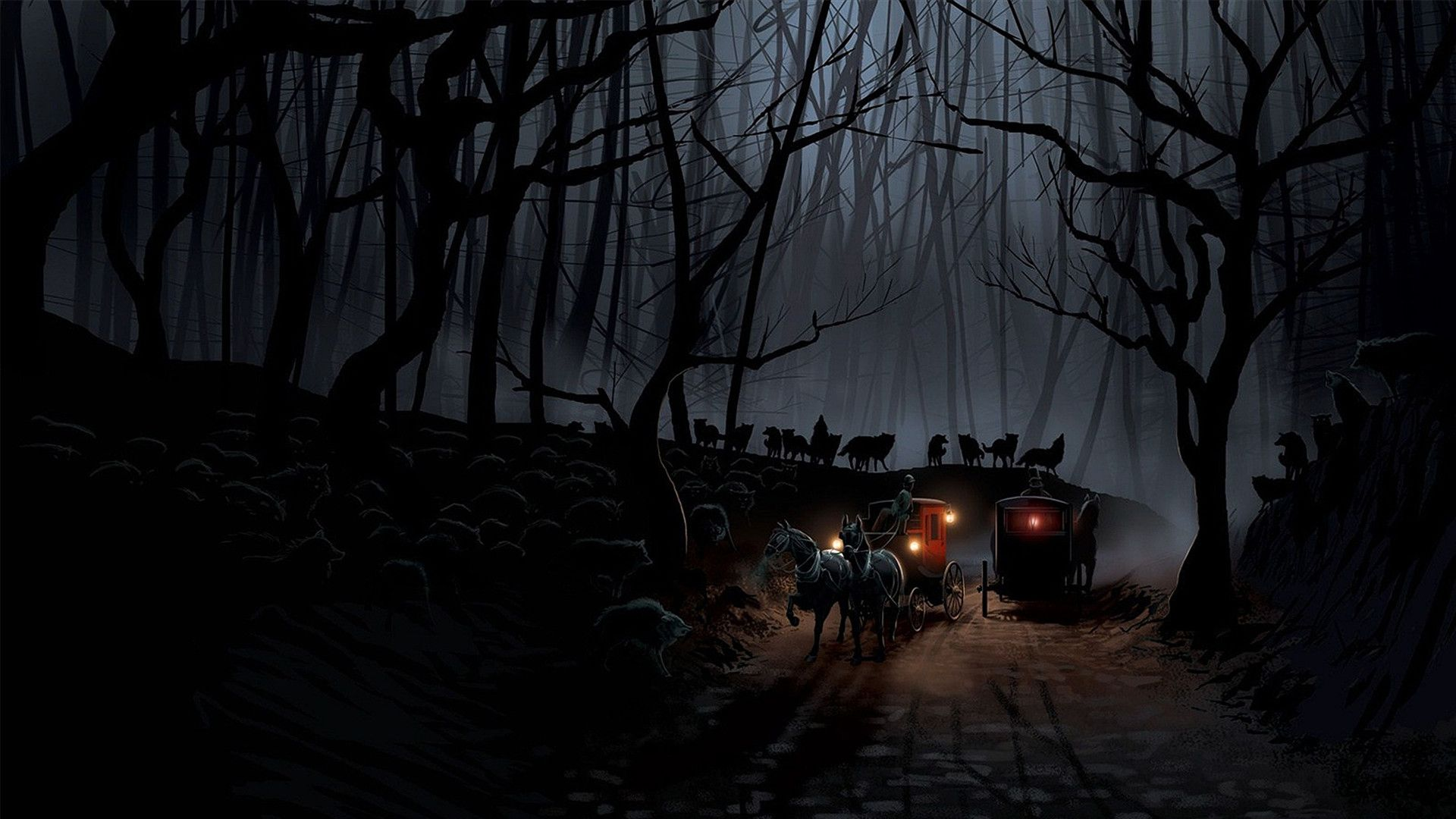 Mystical Night, Scary Forest At Night, Forest At Night, Black Carriage Art wallpaper