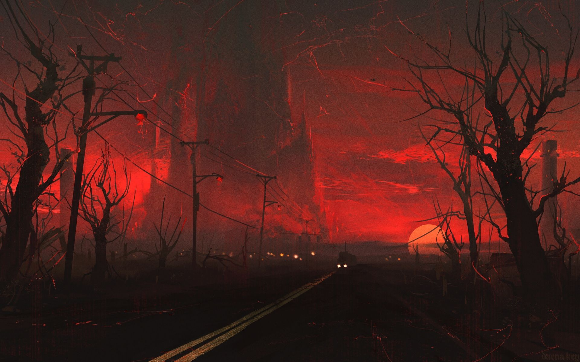 Red Darkness, Gloomy Landscapes, Red Railway wallpaper