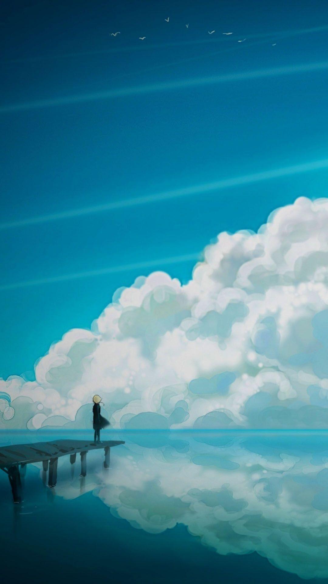 Sad Anime iOS 8 wallpaper