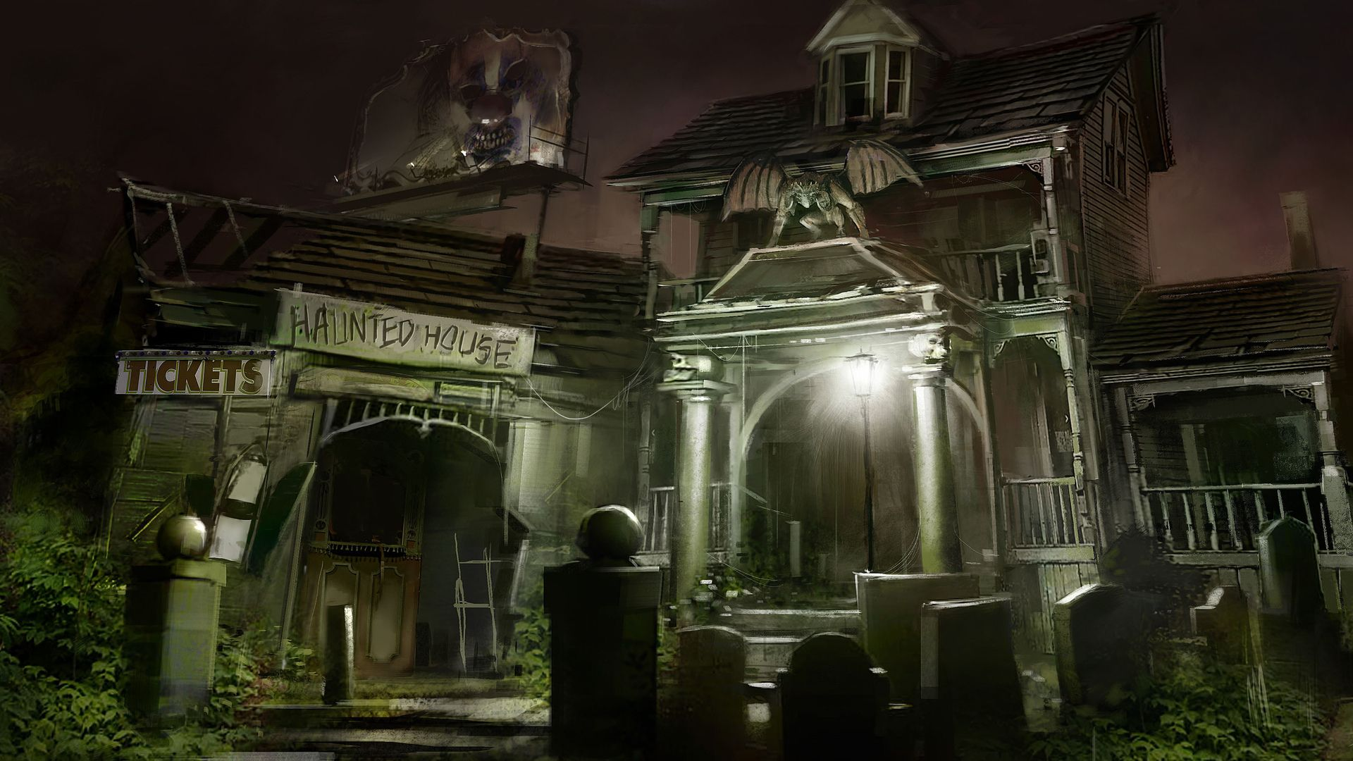 Sinister Mansion, Ghosts In The Cemetery Artdownload free wallpaper image