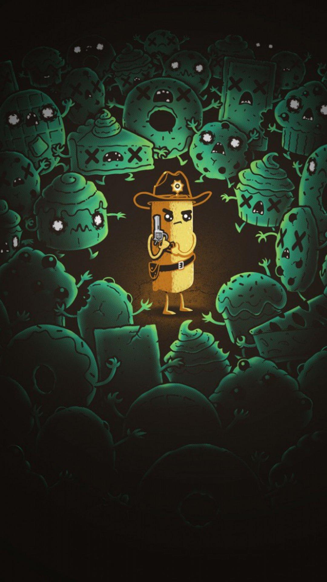 Zombie Art Minimalism, Zombie, Cartoon Wallpaper