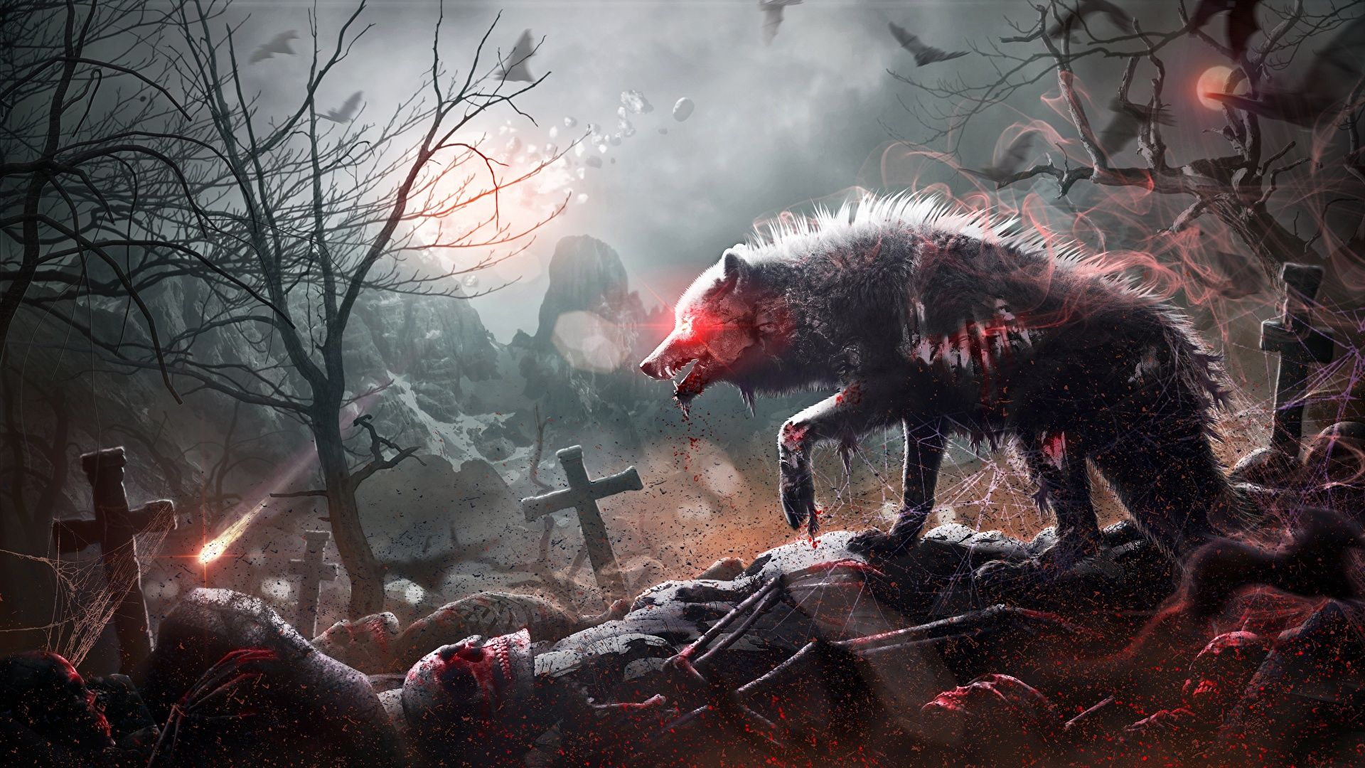 Zombie Wolf, Bloody Wolf, Mystical Wolf With Blood wallpaper