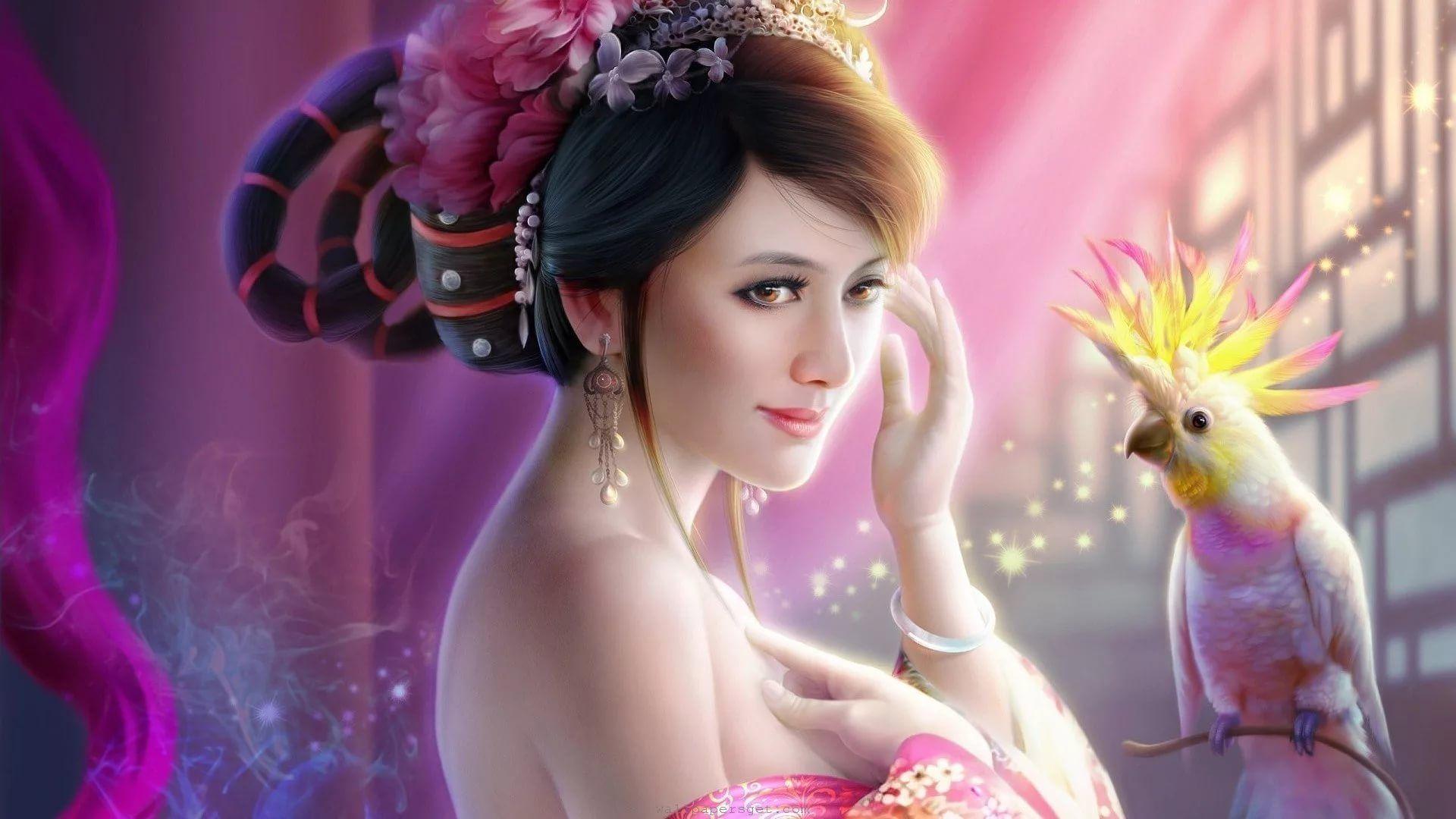 3D Girl Background Wallpaper HD