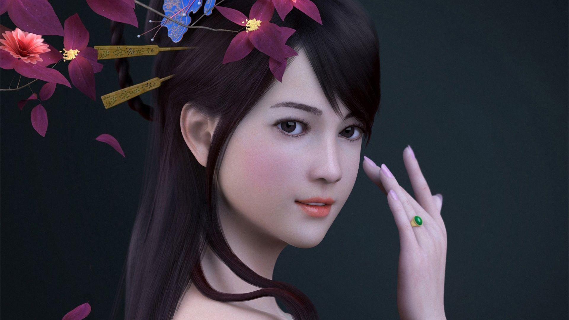 3D Girl Free Desktop Wallpaper