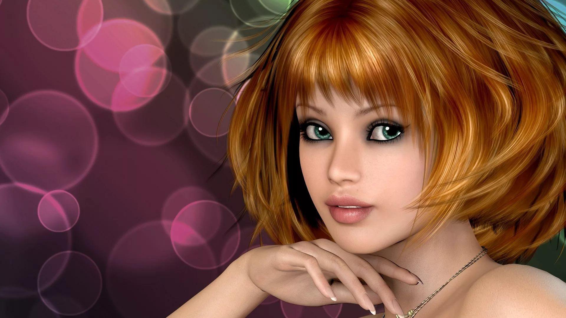 D Girl Background Wallpaper HD