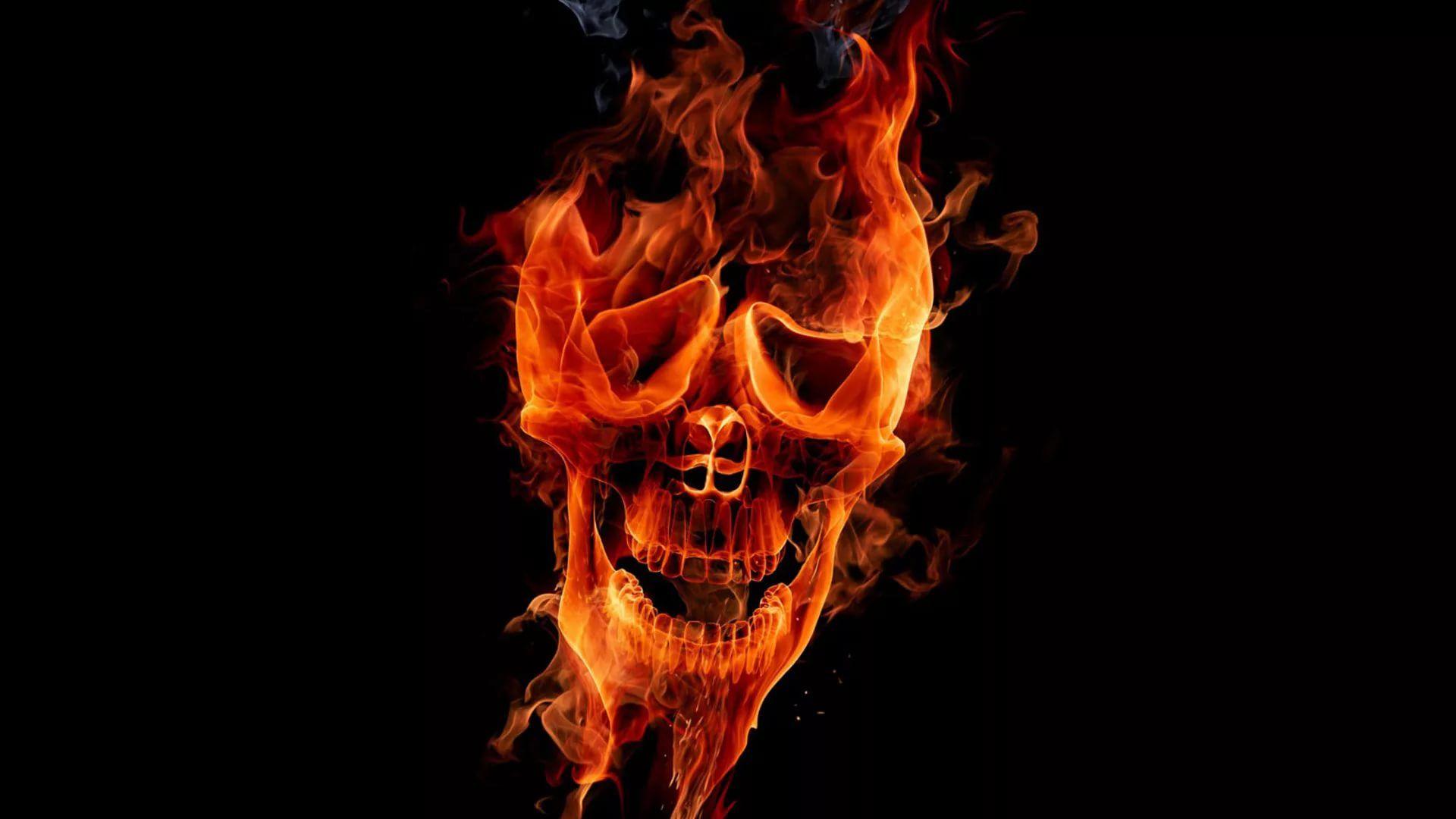 Flaming Skull free hd wallpaper