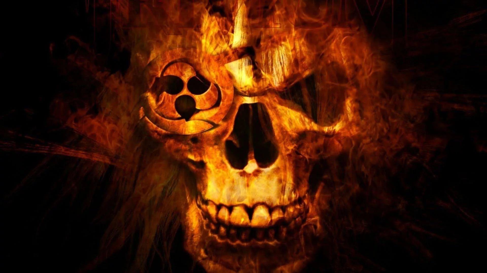 Flaming Skull Nice Wallpaper