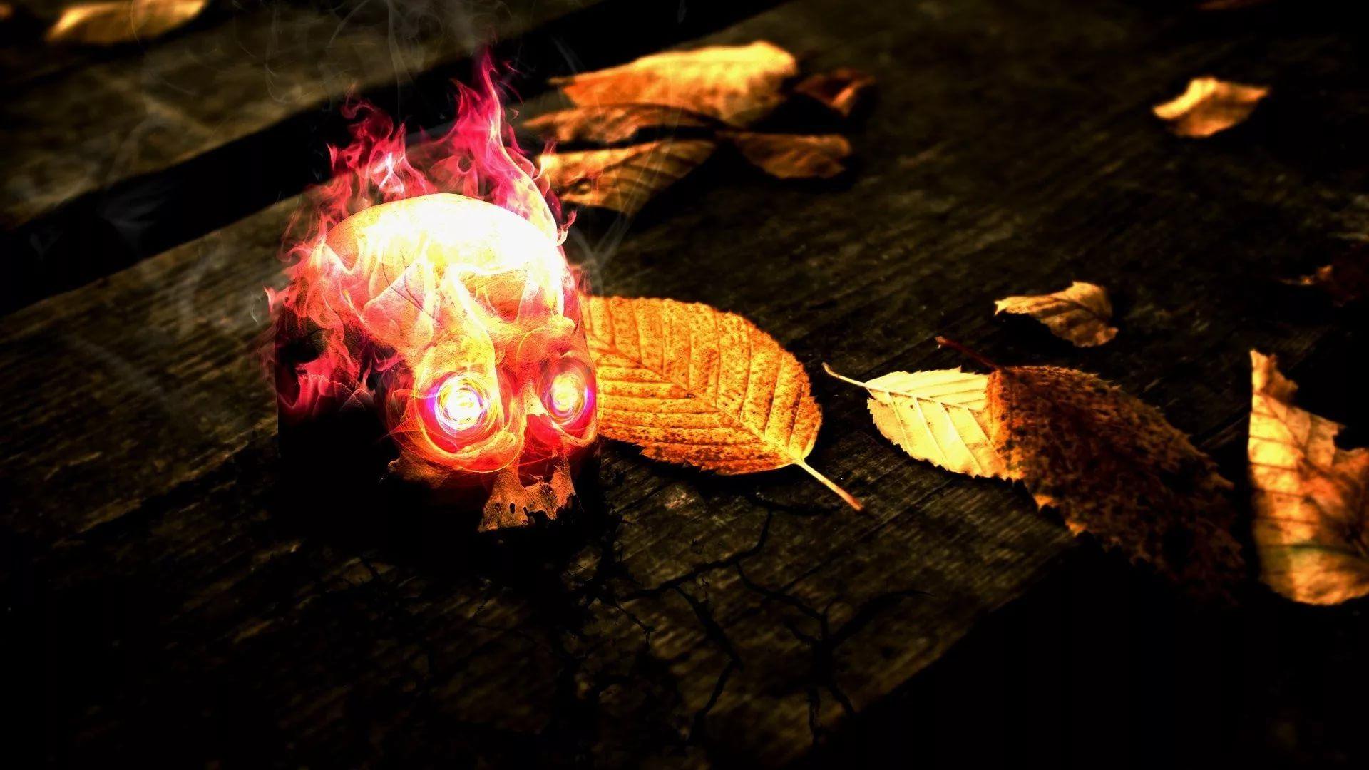 Flaming Skull download wallpaper image
