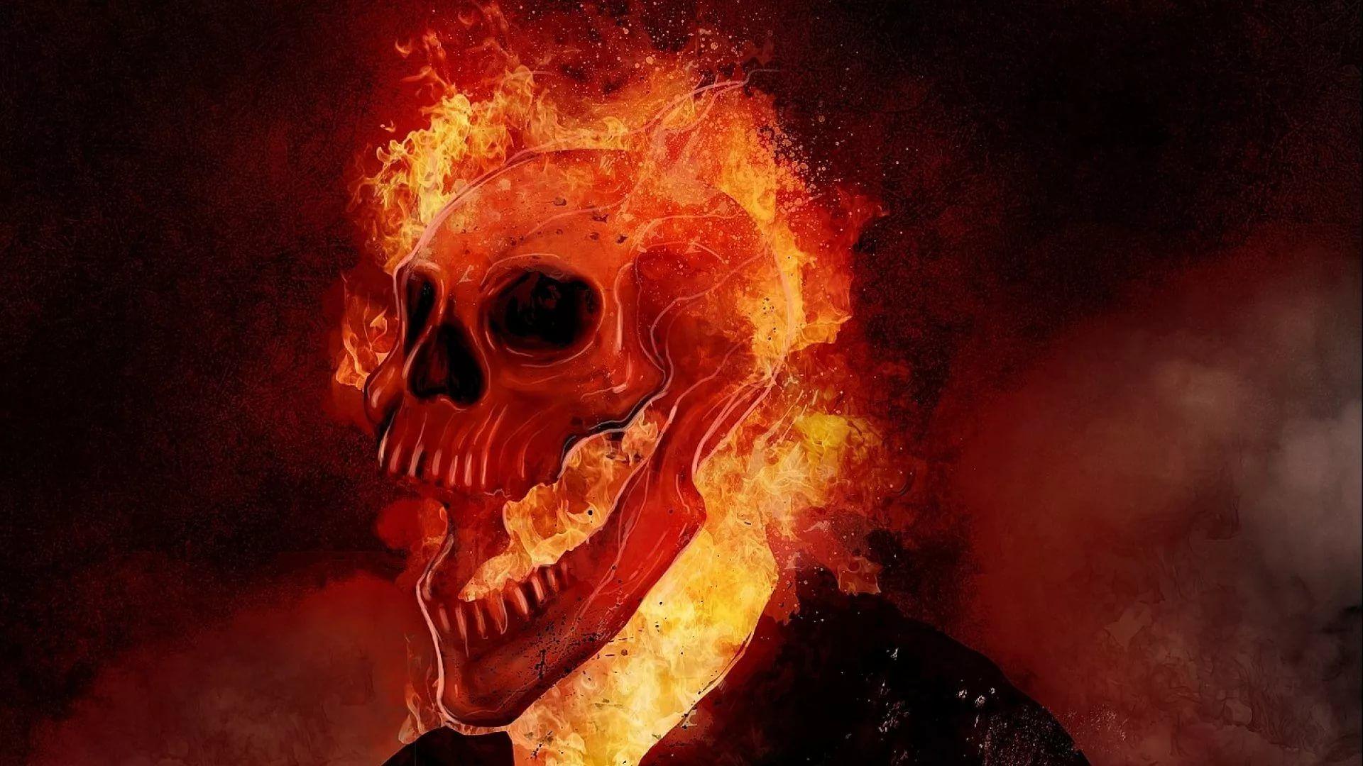 Flaming Skull download nice wallpaper