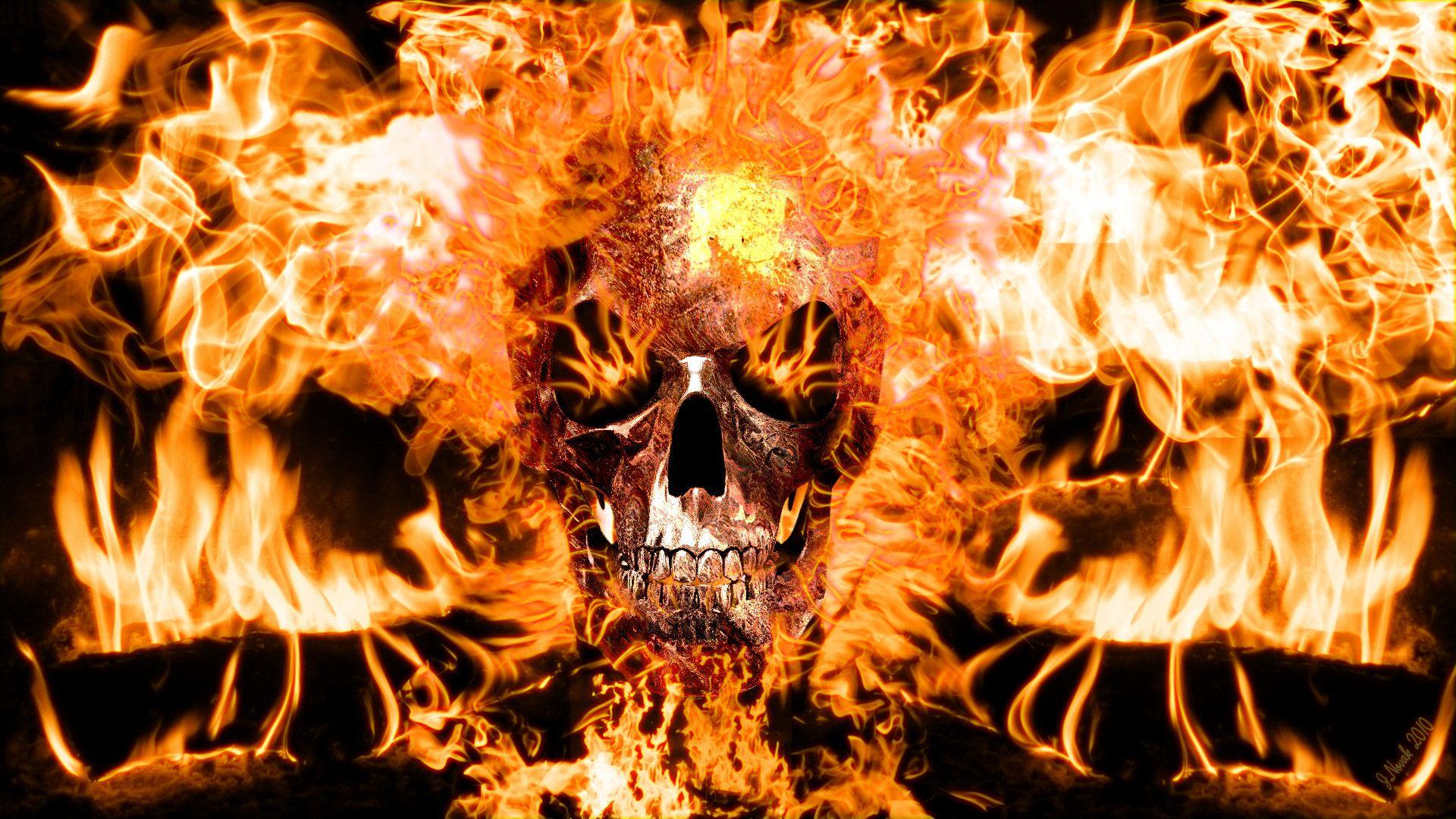 Flaming Skull 1080p Wallpaper