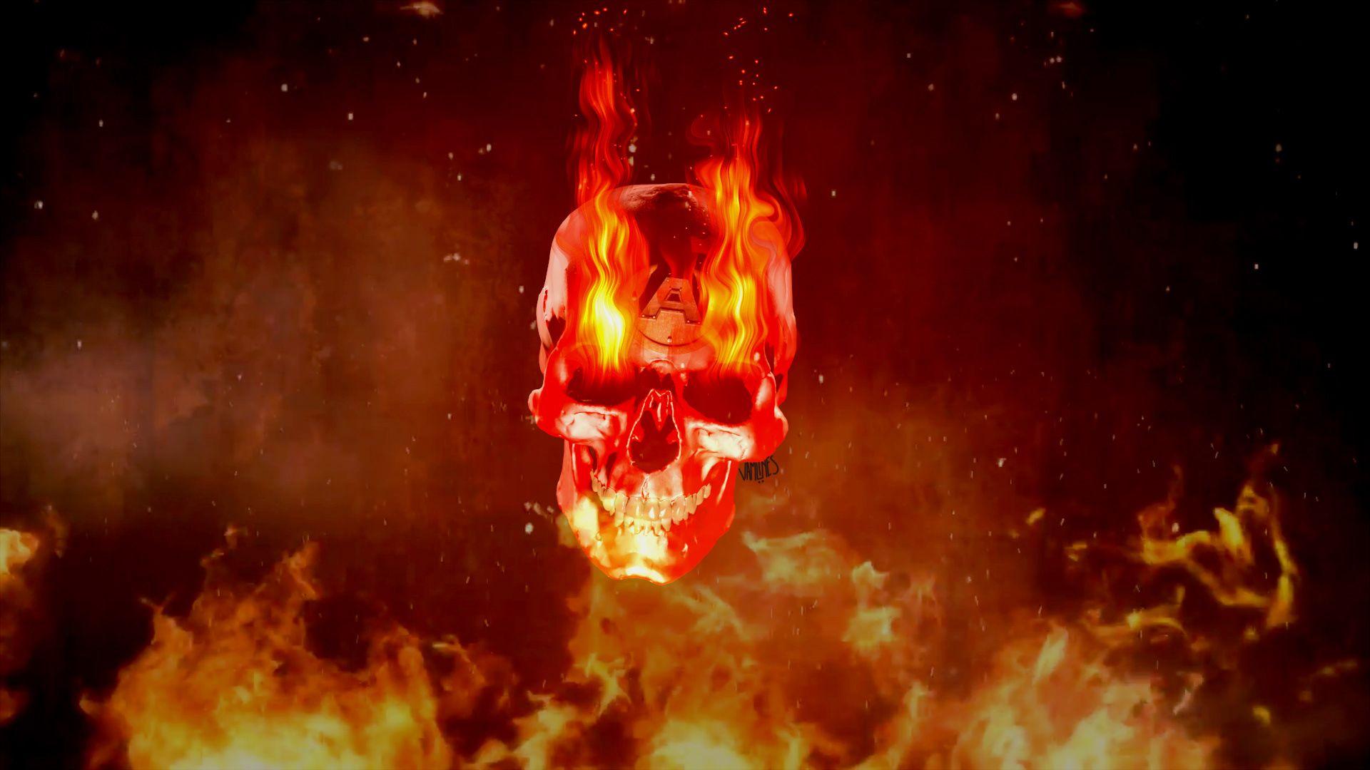 Flaming Skull HD Desktop Wallpaper