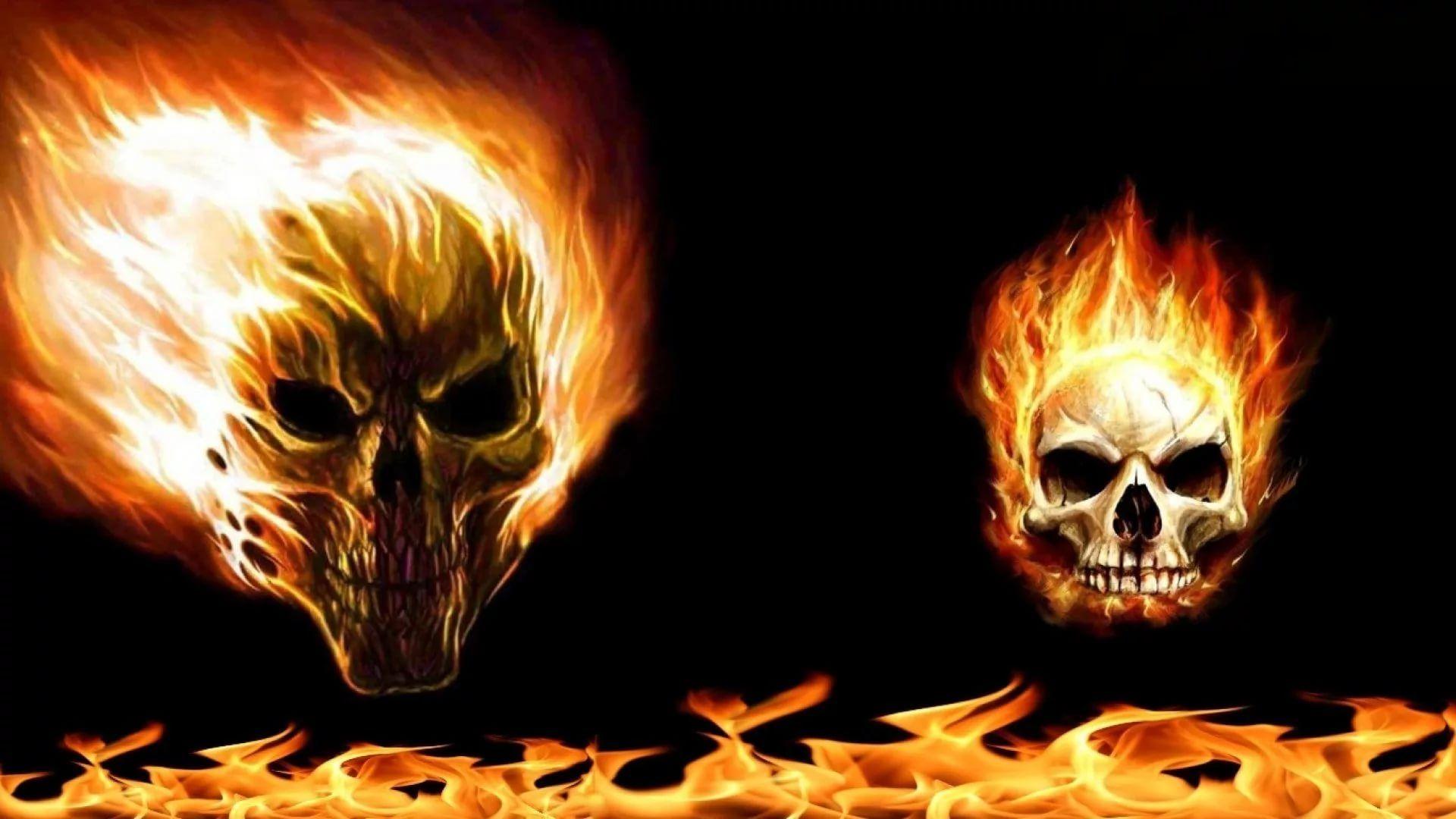 Flaming Skull Background Wallpaper HD