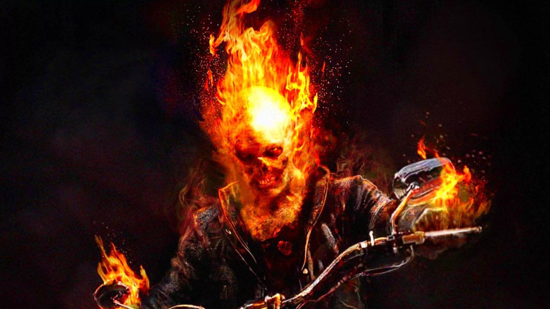 Flaming Skull hd wallpaper download