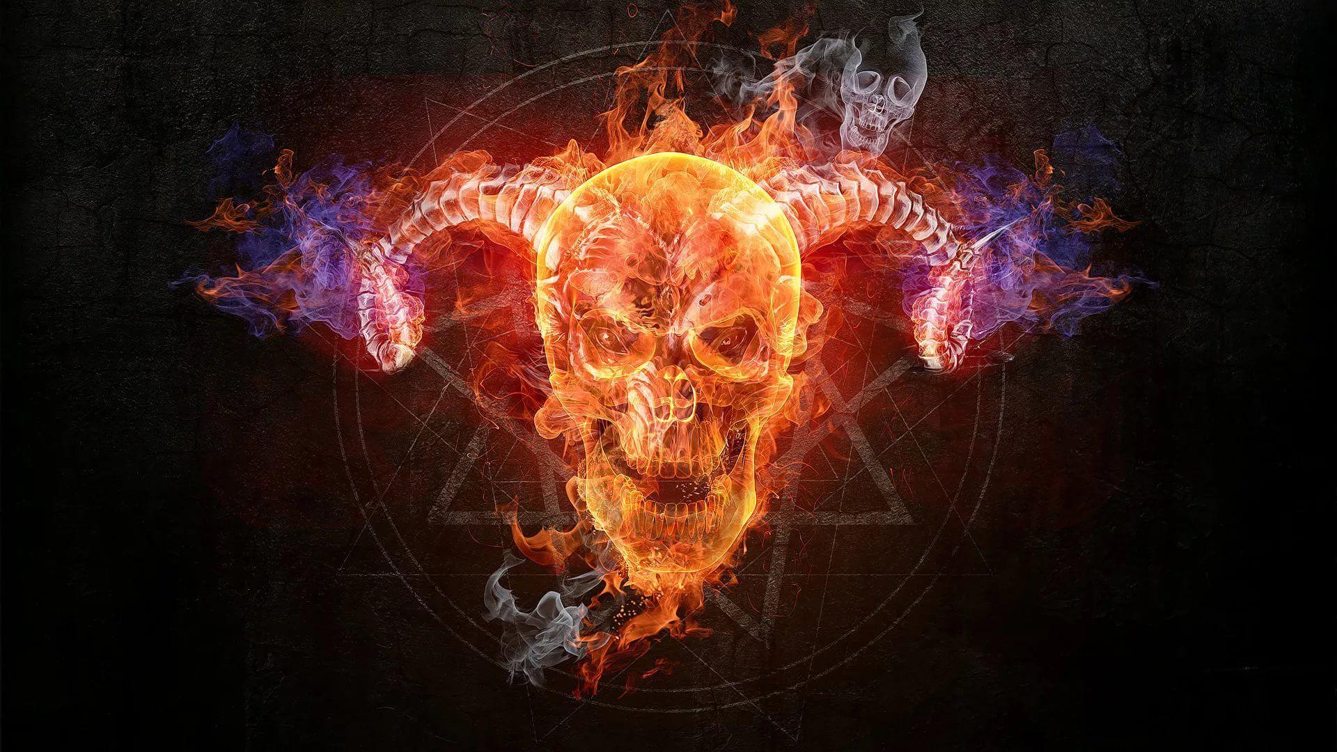 Flaming Skull Free Desktop Wallpaper