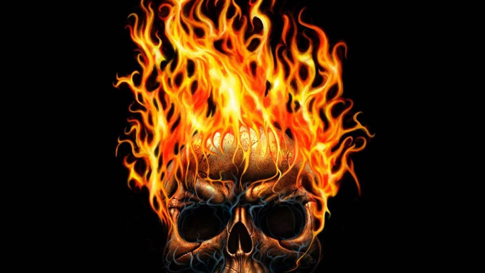 Flaming Skull wallpaper image hd