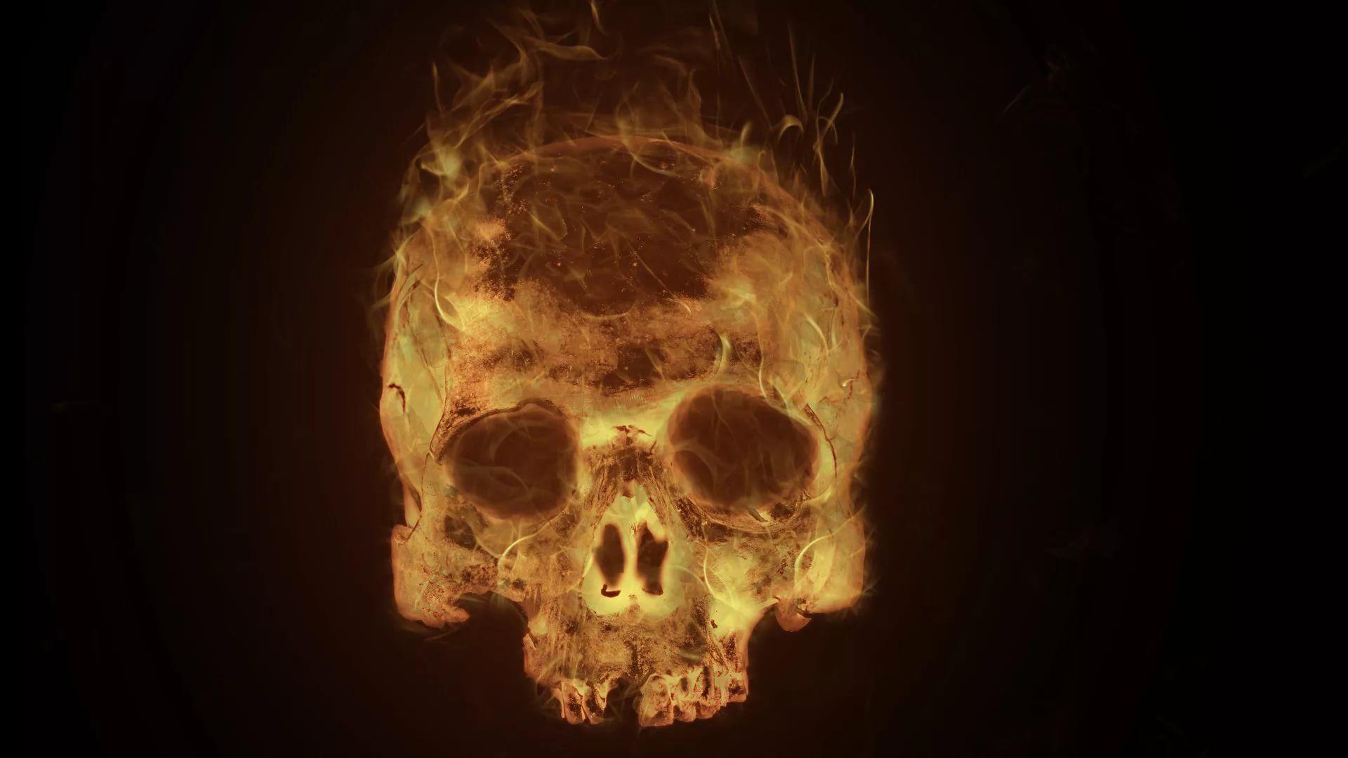Flaming Skull PC Wallpaper