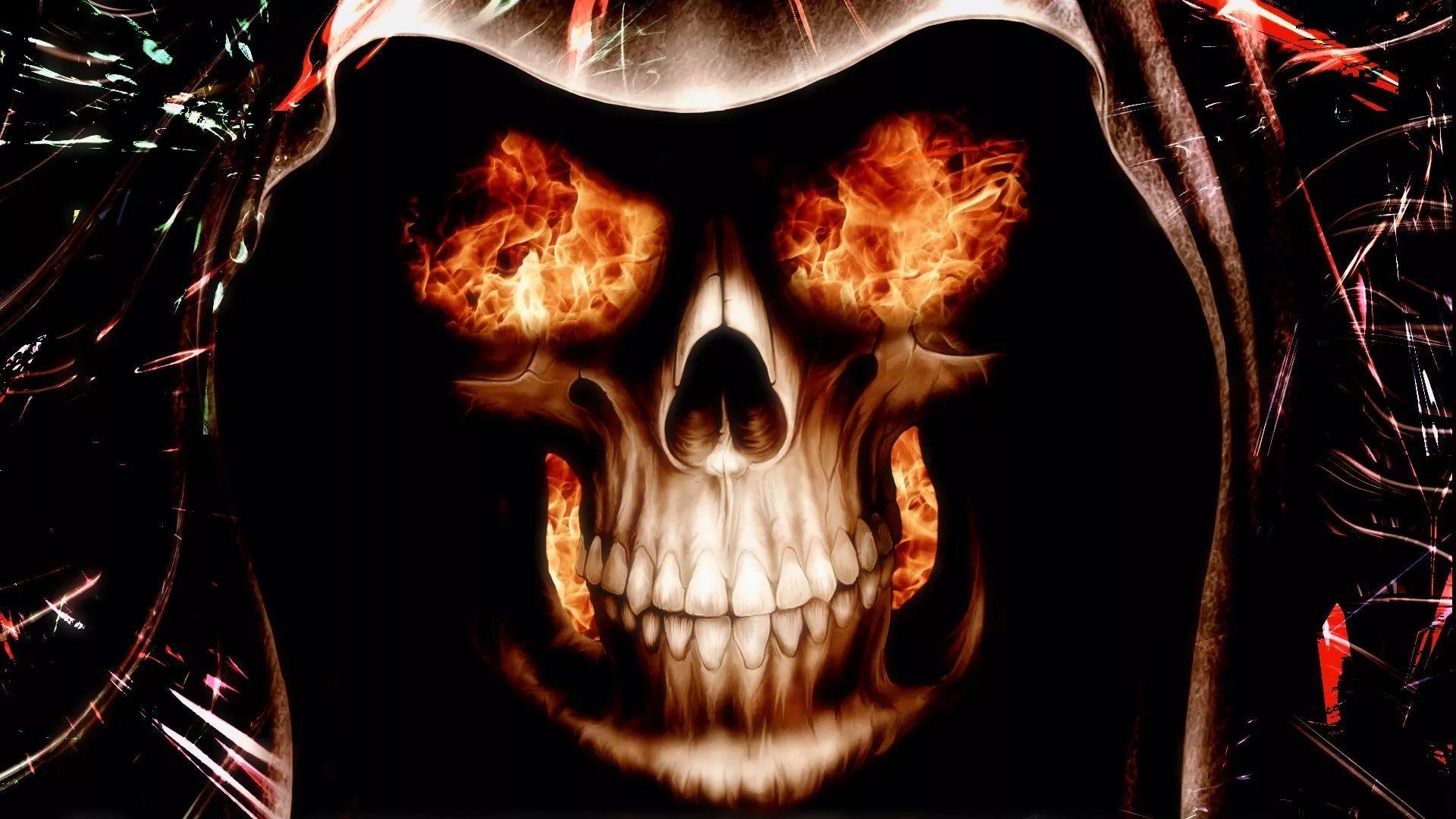 Flaming Skull good wallpaper hd