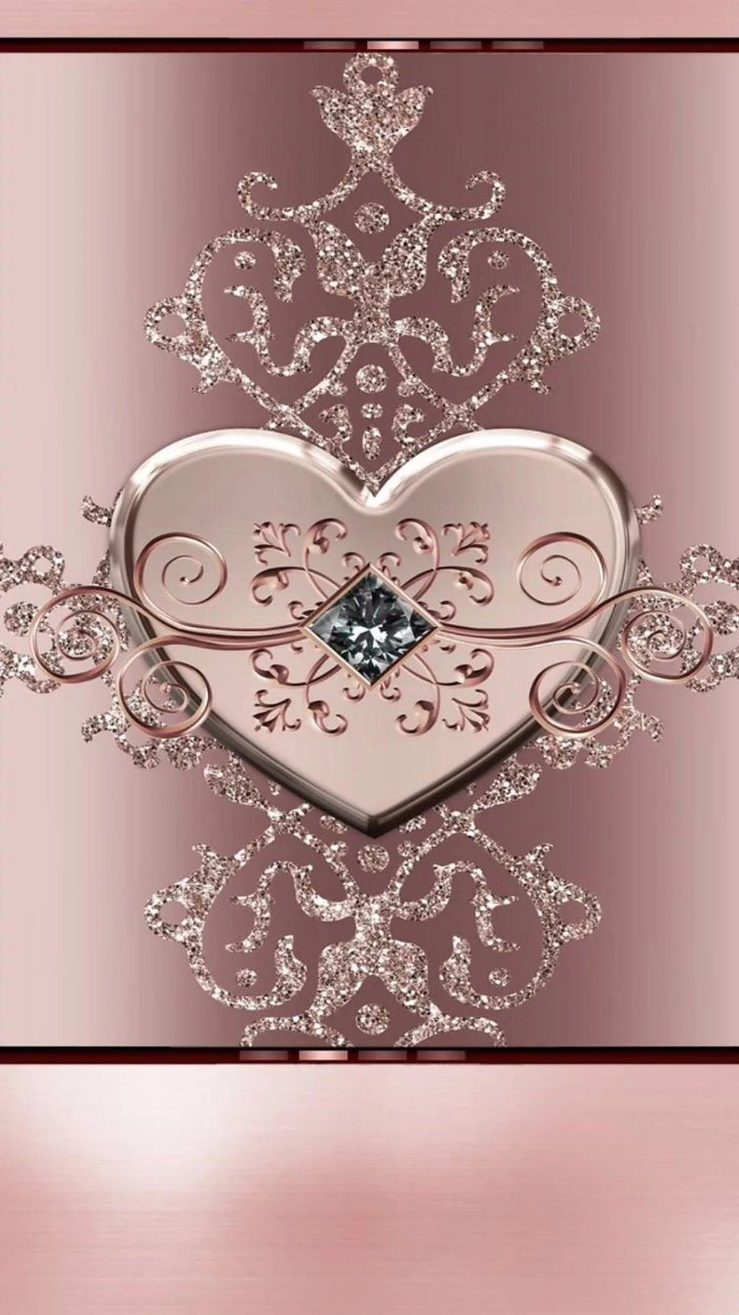 Rose Gold Heart iPhone wallpaper