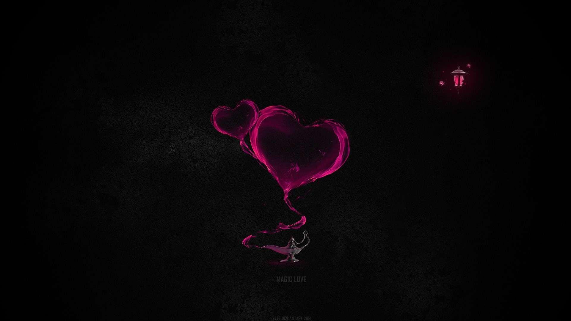 3 D Heart On Black Background