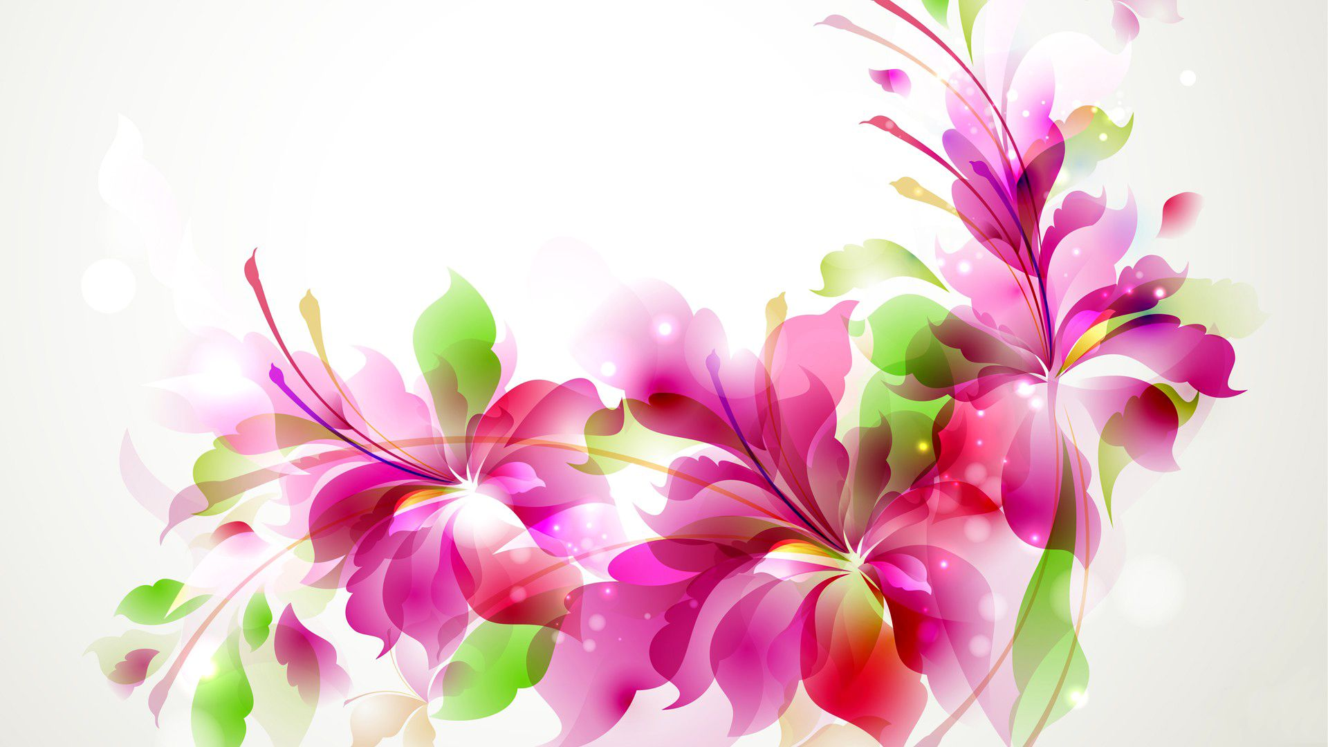 Abstraction With Flowers, Flowers Art Vector