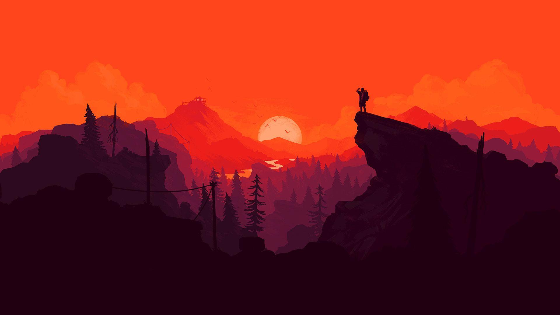 Background Firewatch Art, Landscape, Minimalism