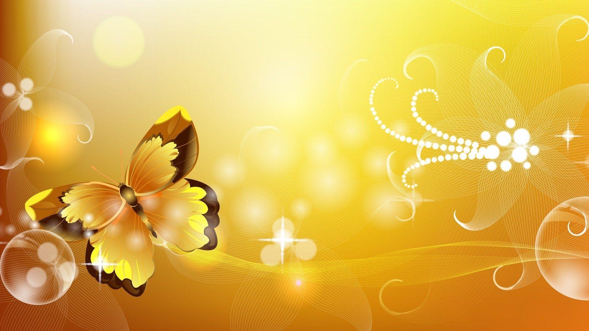 Beautiful Yellow Background Wallpaper Golden Butterfly
