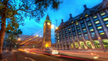 Big Ben At Dusk, London, Road, London, Lights, Night