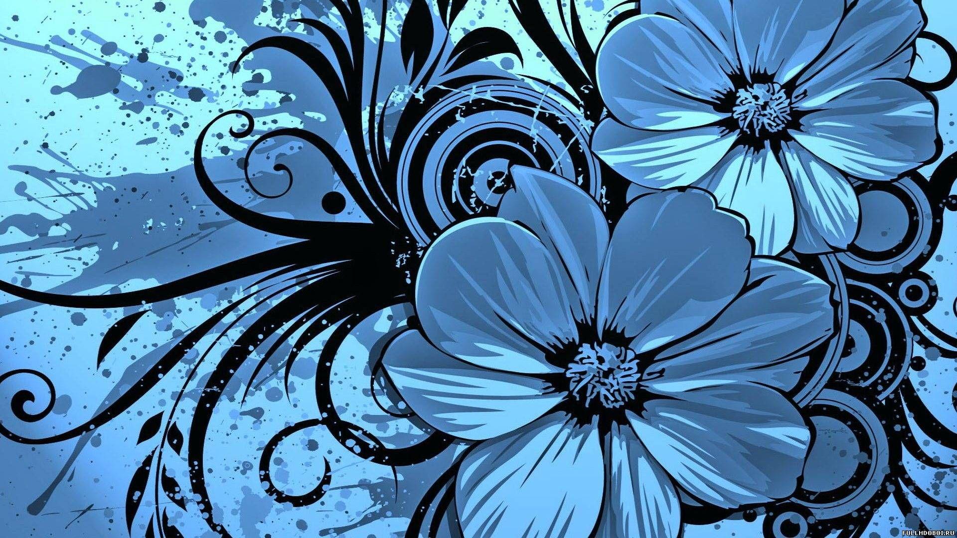 Blue Flowers Drawn