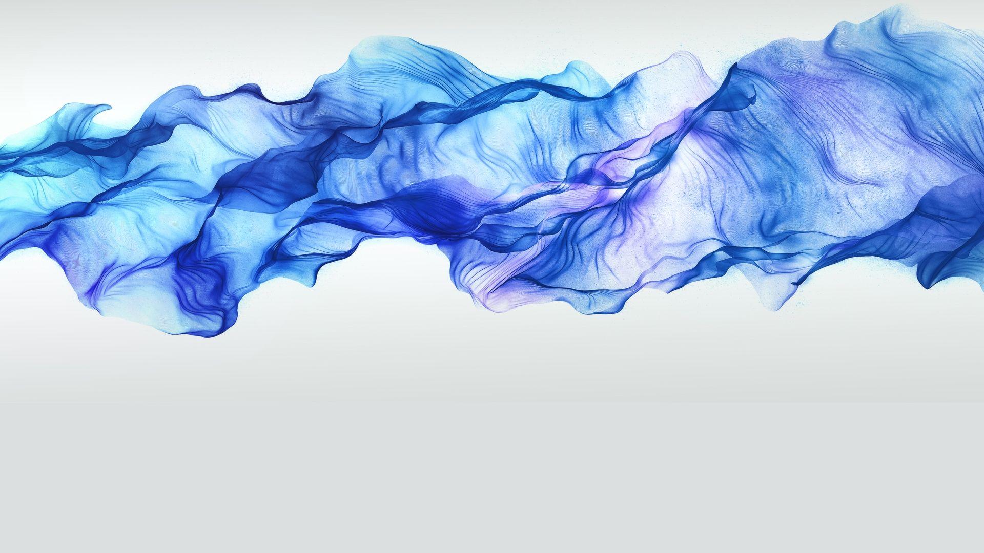 Blue Smoke White Background Wallpaper