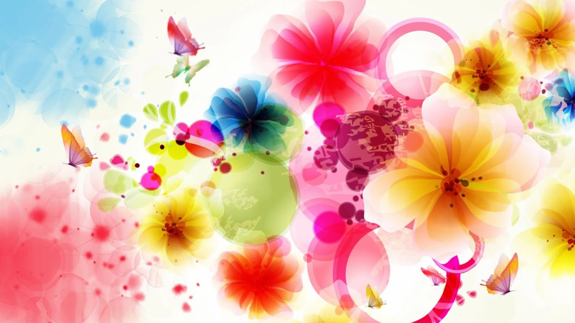 Bright Flowers And Butterflies, Background With