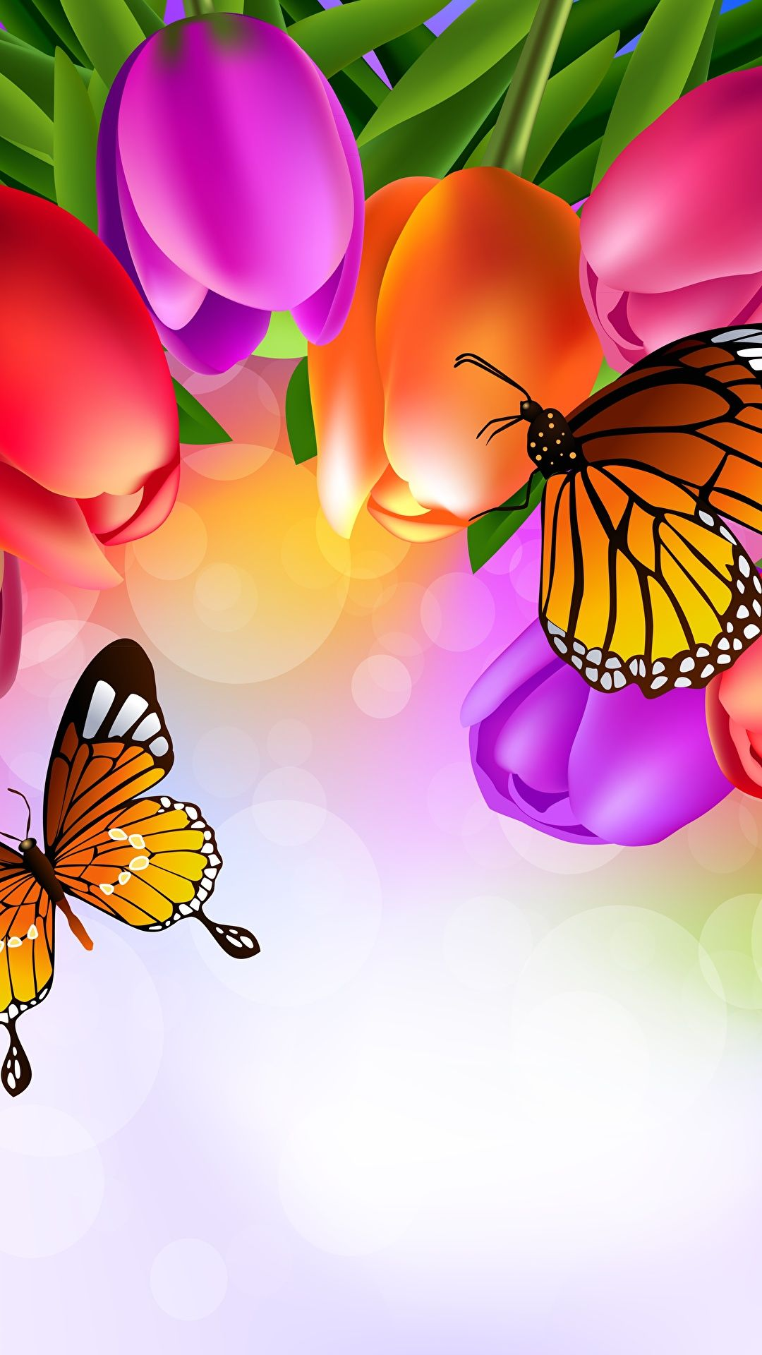 Butterflies Tulips Monarch Butterfly Animals Photo Wallpaper Imag
